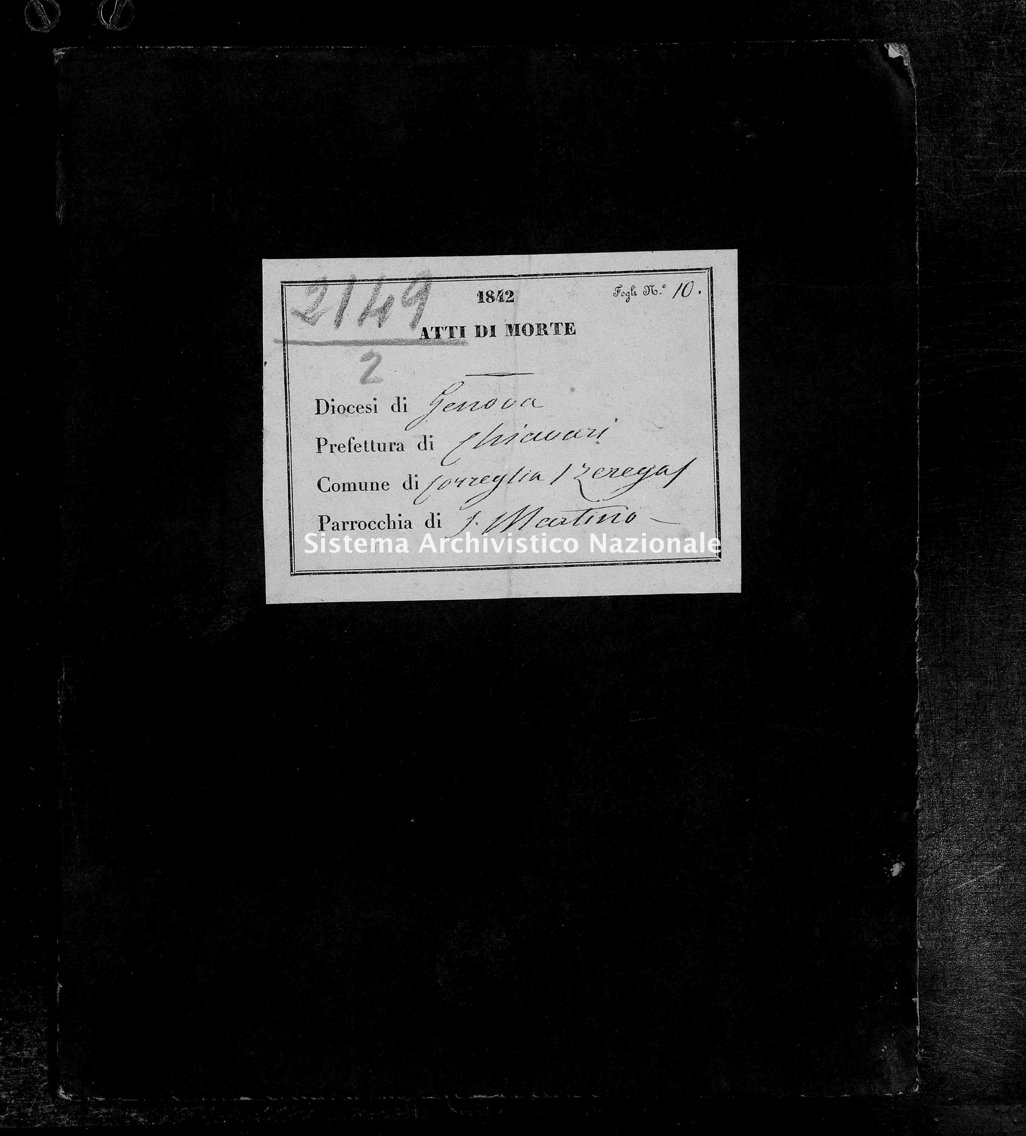Archivio di stato di Genova - Stato civile della restaurazione - Zerrega-(Parrocchia-di-San-Martino) - Morti - 1842 - 118 -