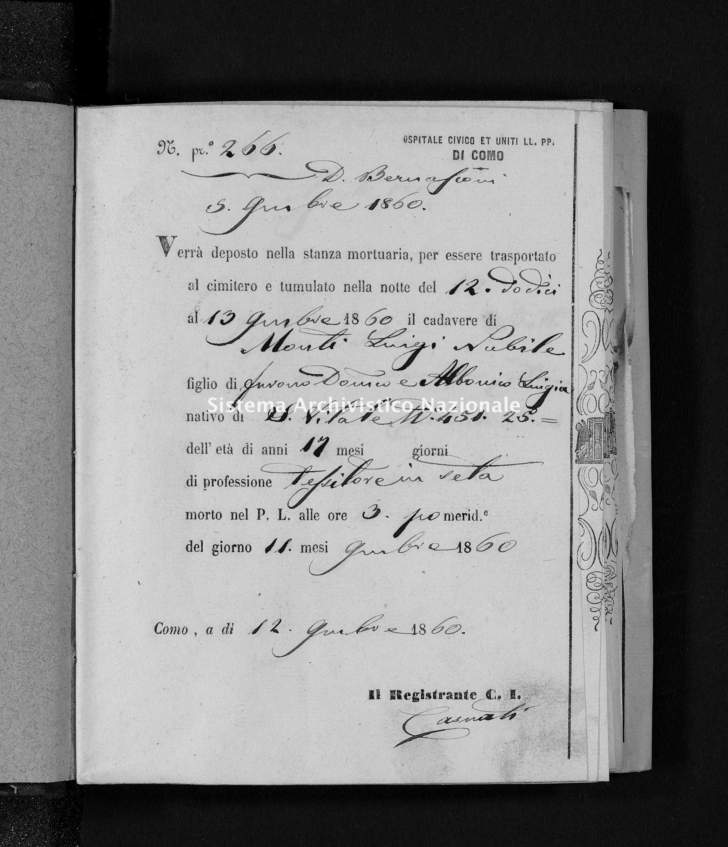 Archivio di stato di Como - Stato civile italiano - Como-(Ospedale-Civico-ed-Uniti) - Morti - 1860-1861 - 3776 -