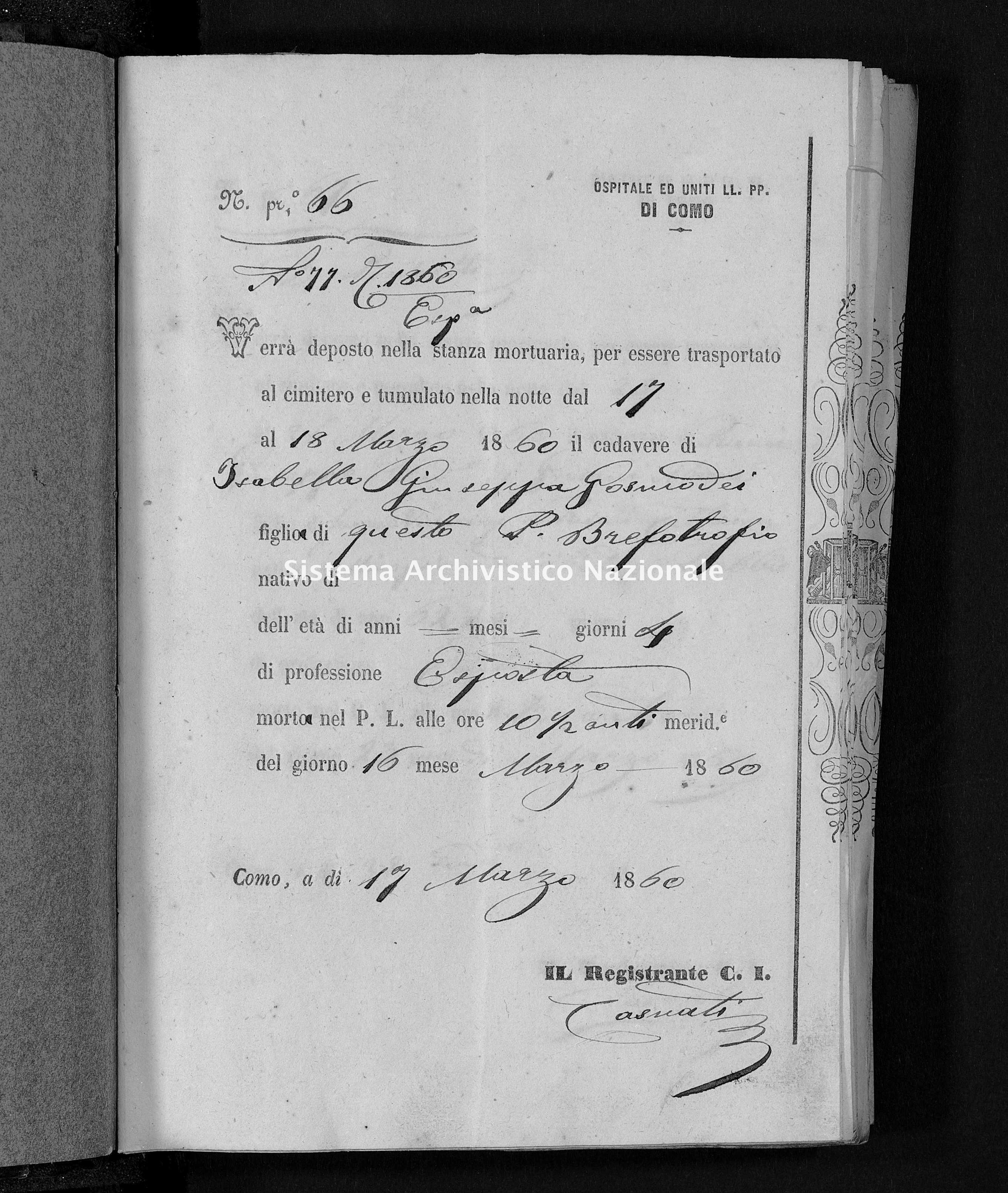 Archivio di stato di Como - Stato civile della restaurazione - Como-(Ospedale-Civico-ed-Uniti) - Morti - 1860 - 3775 -