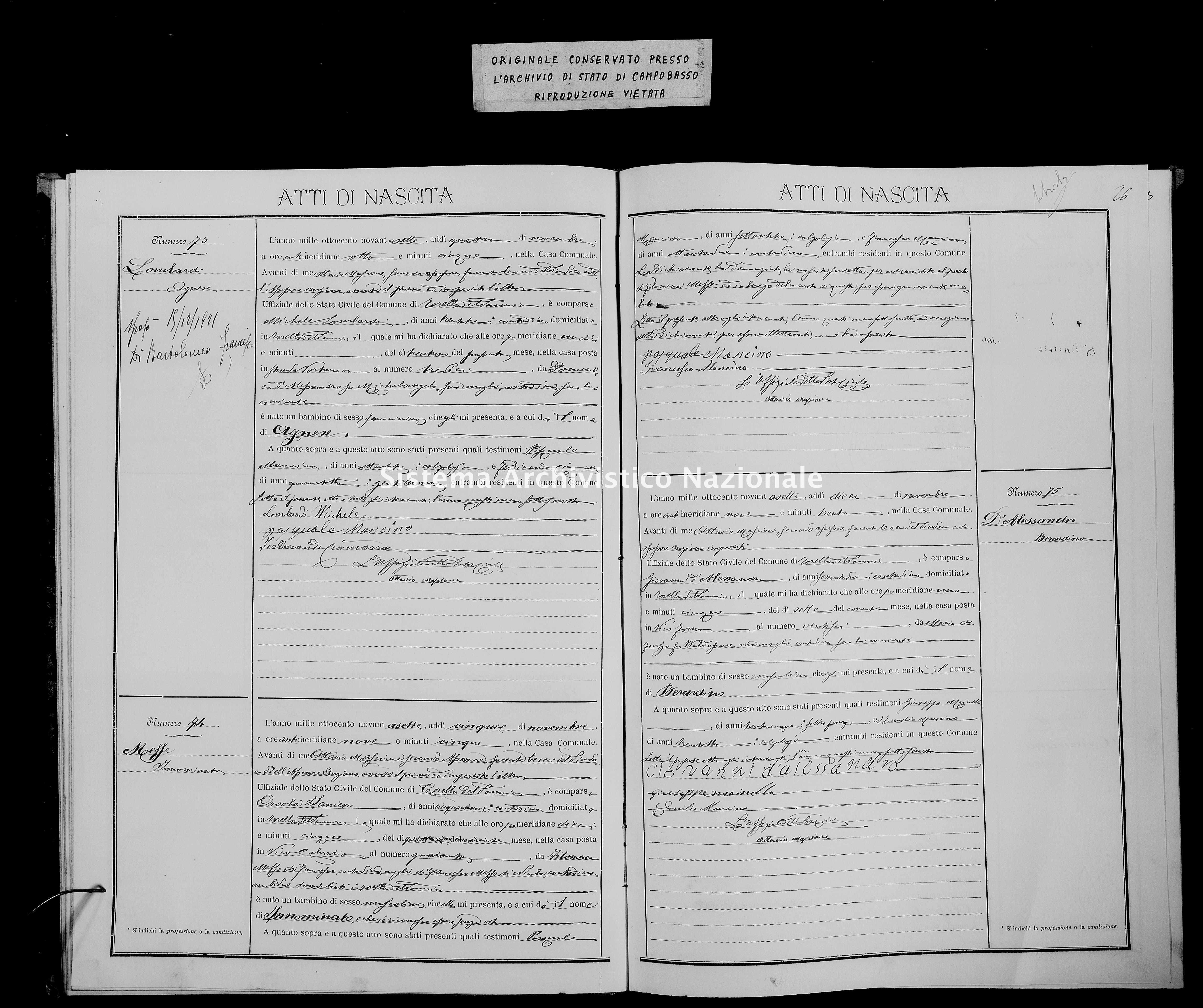 Archivio di stato di Campobasso - Stato civile italiano - Torella del Sannio - Nati - 1897 -