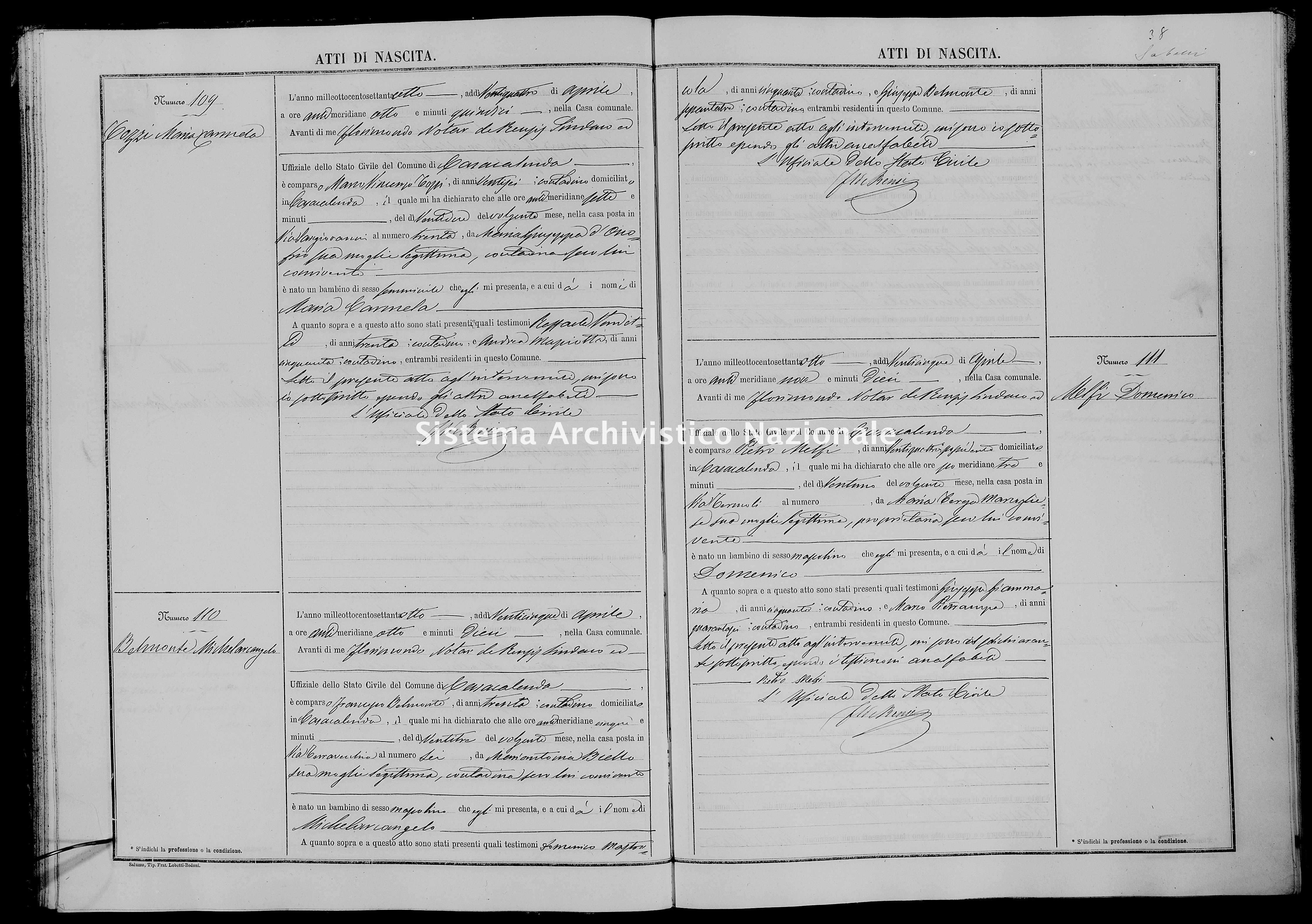 Archivio di stato di Campobasso - Stato civile italiano - Casacalenda - Nati - 1878 -