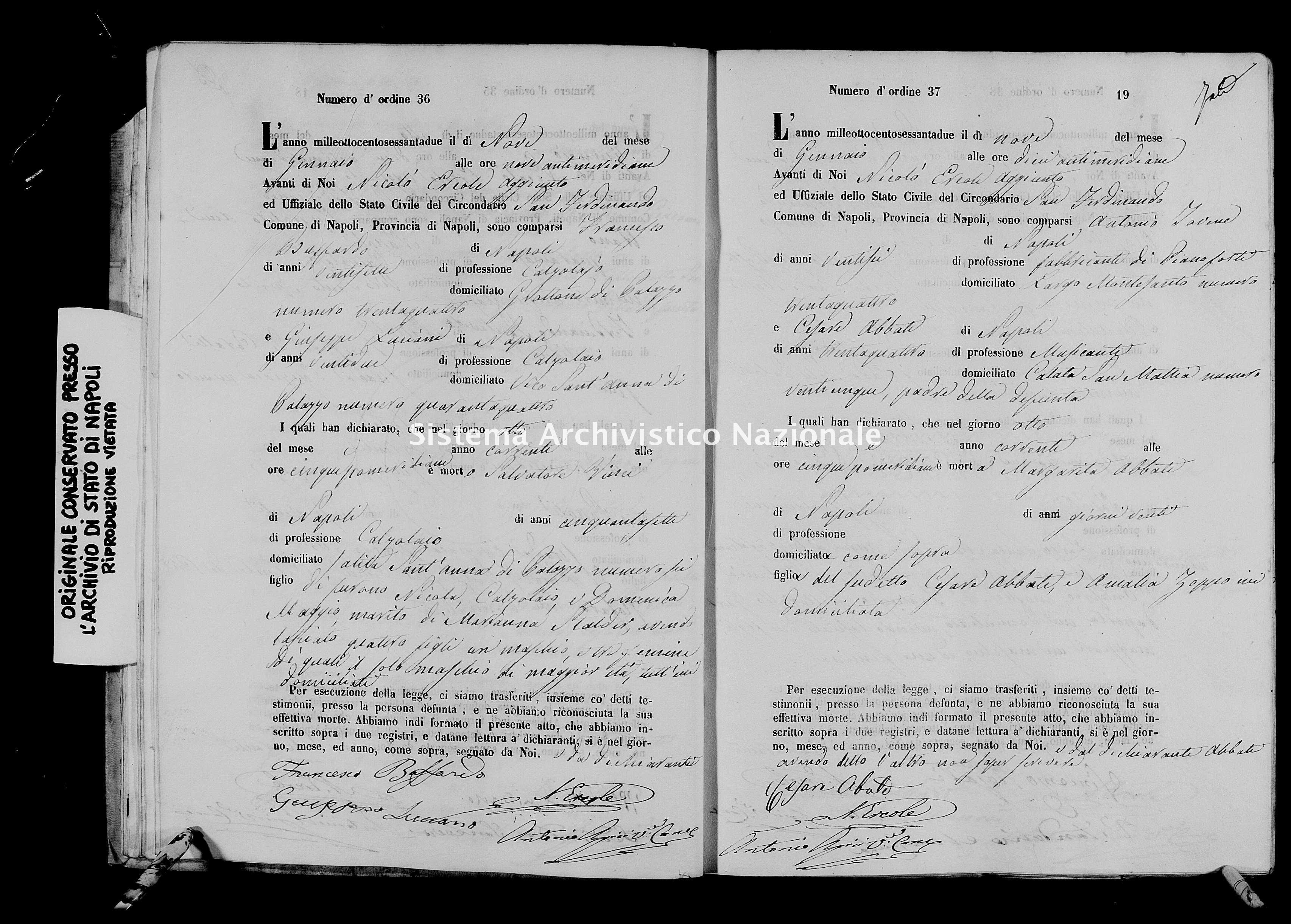 Archivio di stato di Napoli - Stato civile italiano - San Ferdinando - Morti - 01/01/1862-27/05/1862 -