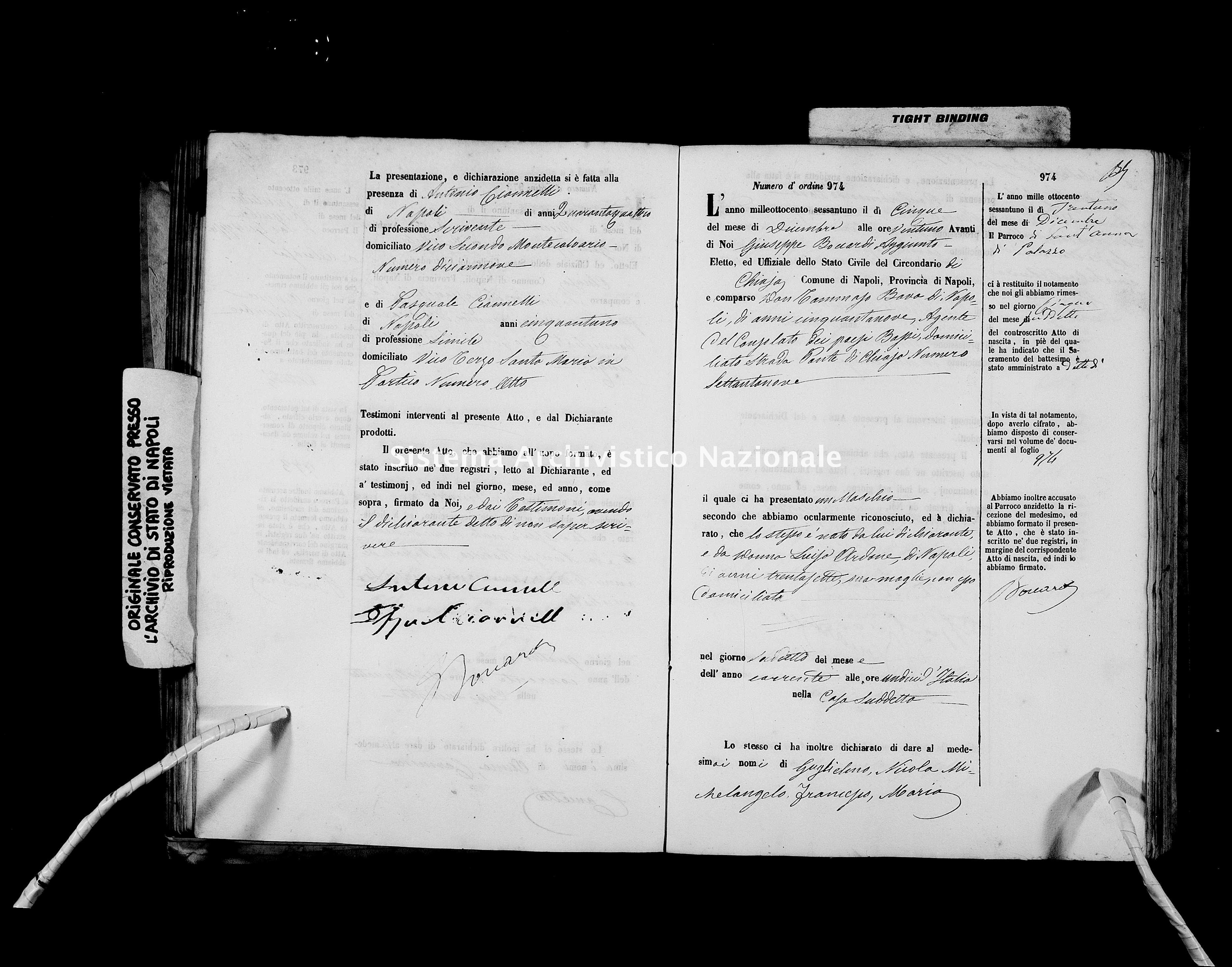 Archivio di stato di Napoli - Stato civile italiano - Chiaia - Nati - 06/10/1861-31/12/1861 -