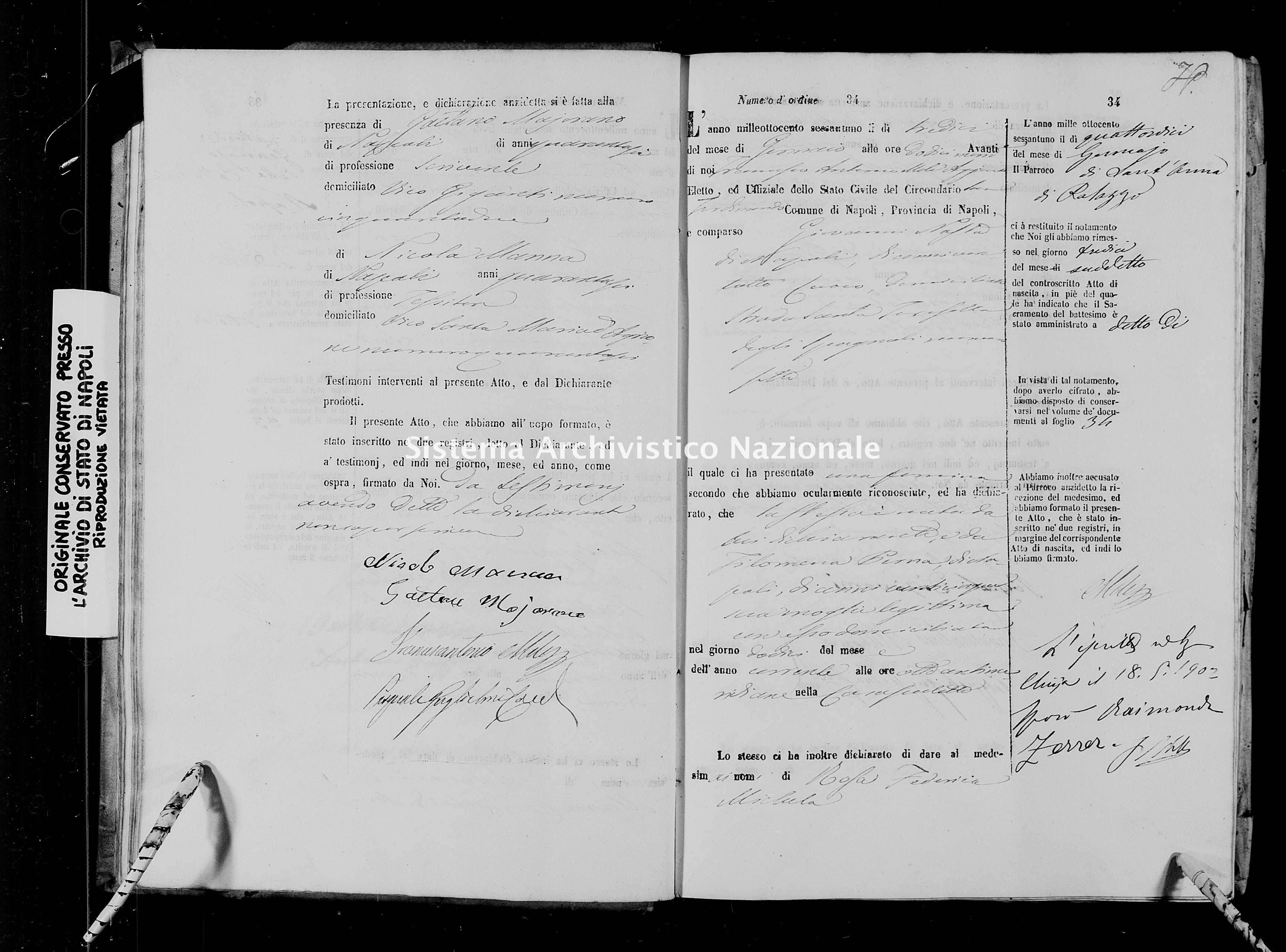 Archivio di stato di Napoli - Stato civile italiano - San Ferdinando - Nati - 02/01/1861-07/05/1861 -