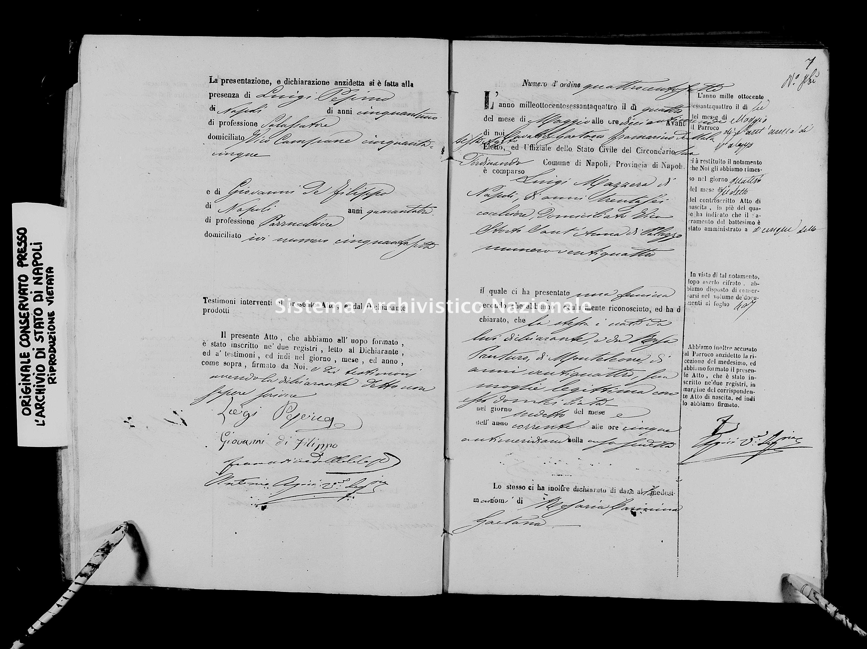 Archivio di stato di Napoli - Stato civile italiano - San Ferdinando - Nati - 01/05/1864-22/07/1864 -