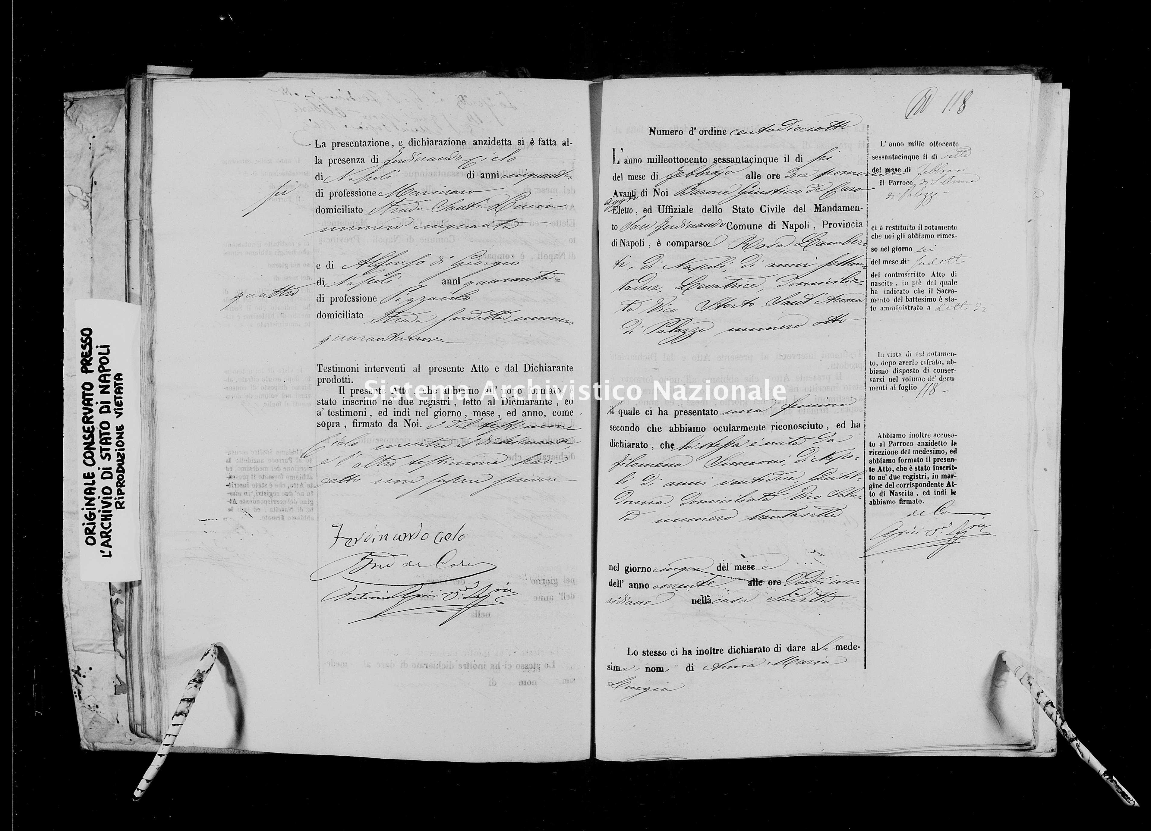 Archivio di stato di Napoli - Stato civile italiano - San Ferdinando - Nati - 01/01/1865-30/05/1865 -