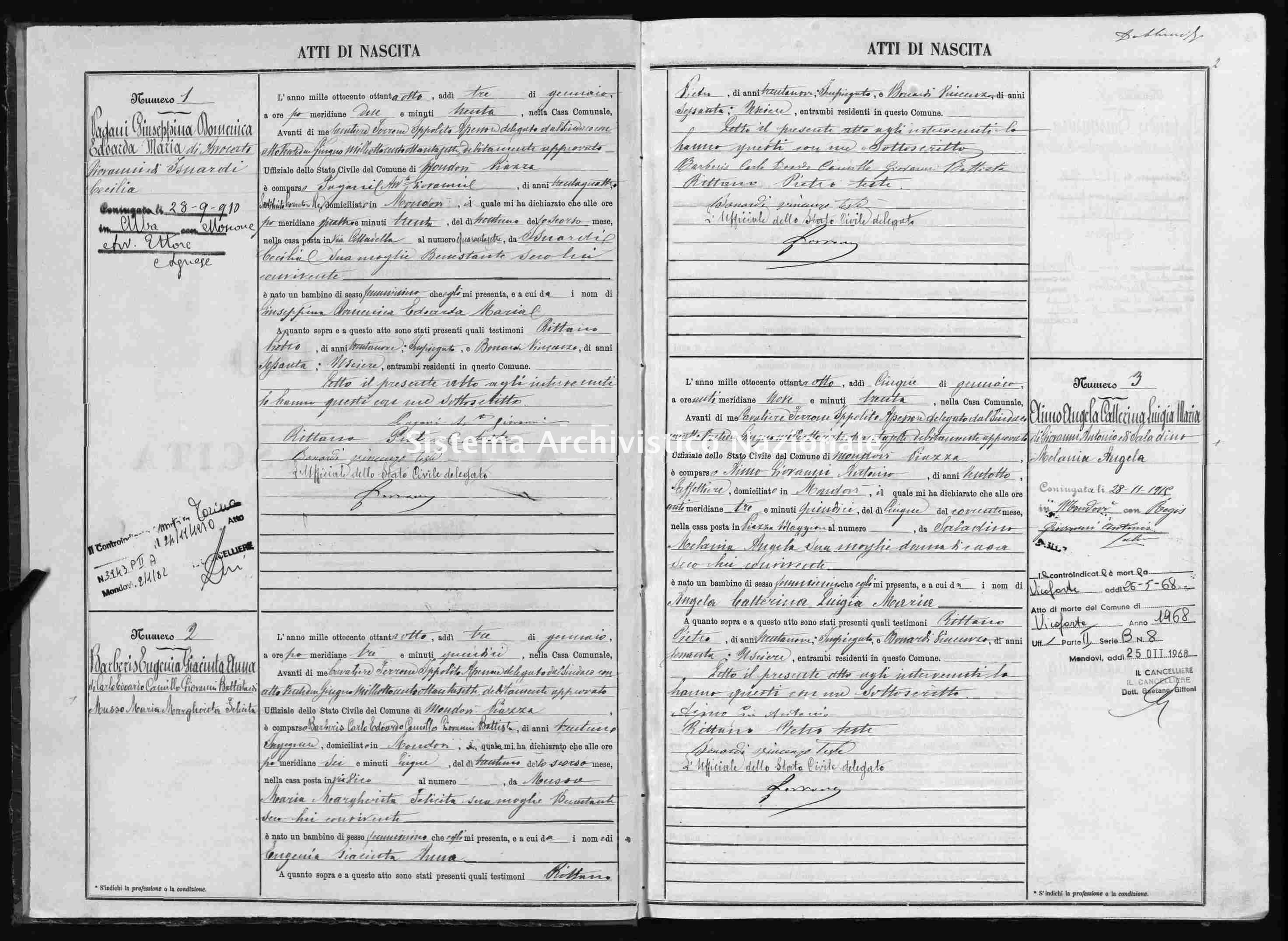Archivio di stato di Cuneo - Stato civile italiano - Mondovì - Nati - 1888 -