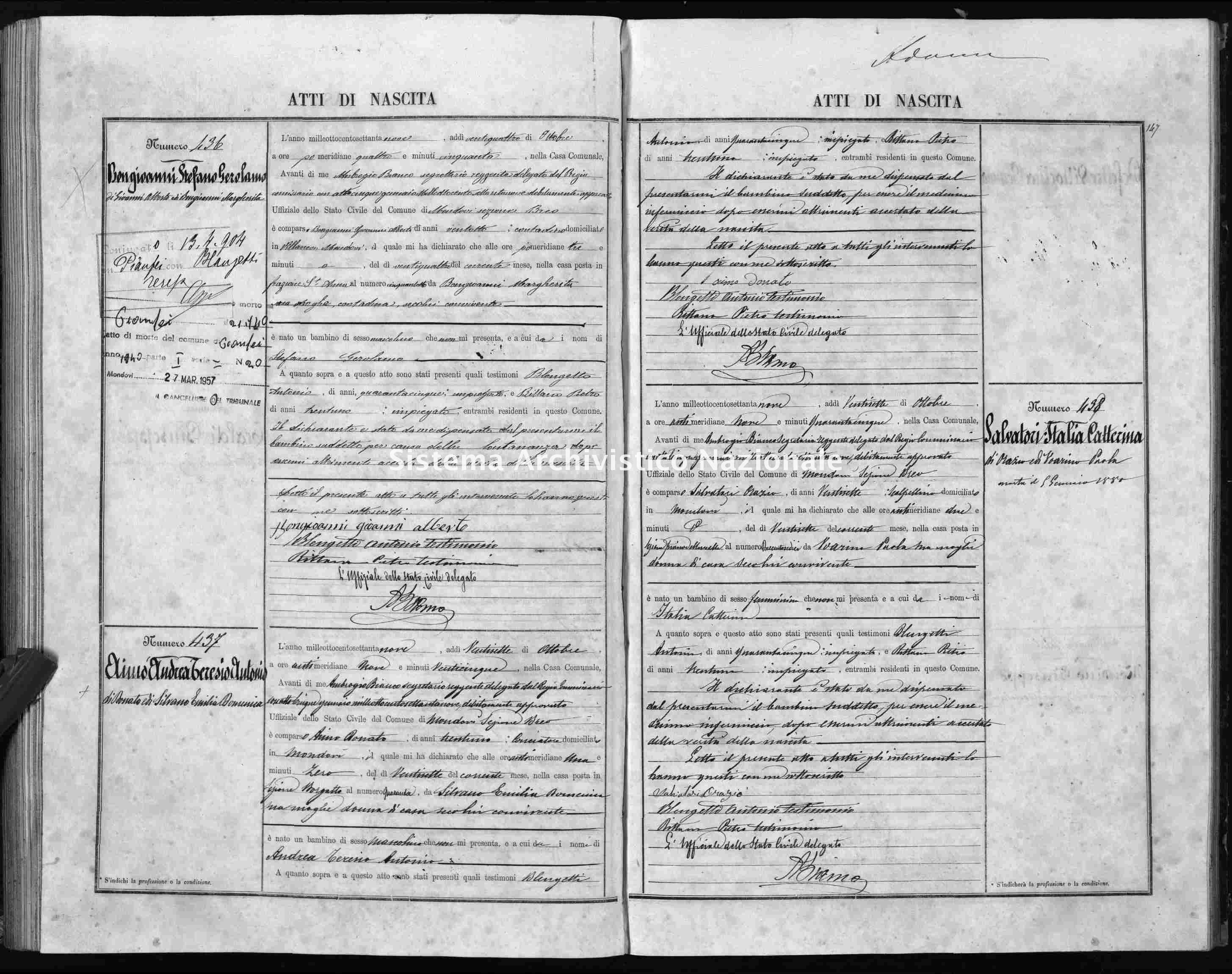 Archivio di stato di Cuneo - Stato civile italiano - Mondovì - Nati - 1879 -