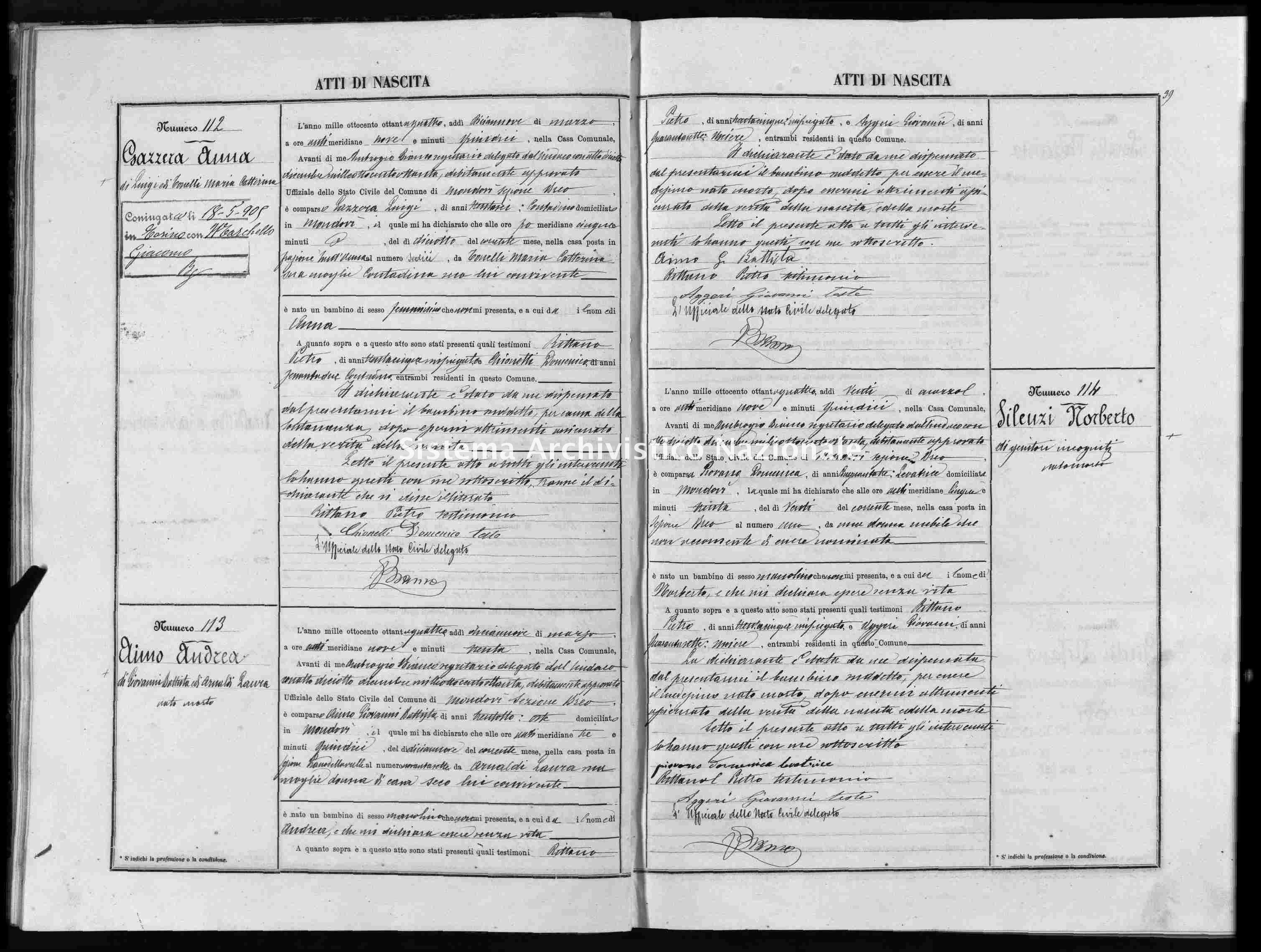 Archivio di stato di Cuneo - Stato civile italiano - Mondovì - Nati - 1884 -