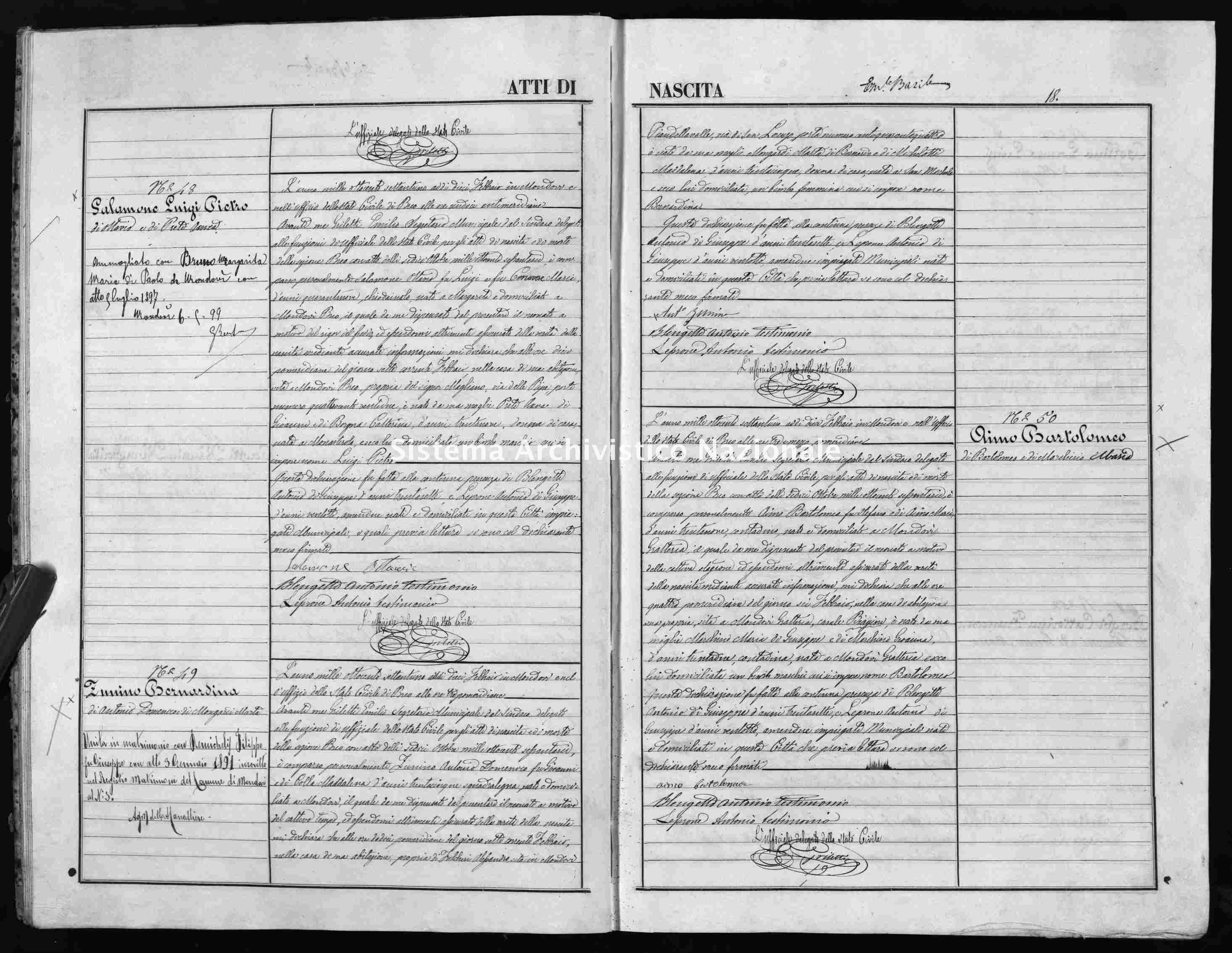 Archivio di stato di Cuneo - Stato civile italiano - Mondovì - Nati - 1871 -