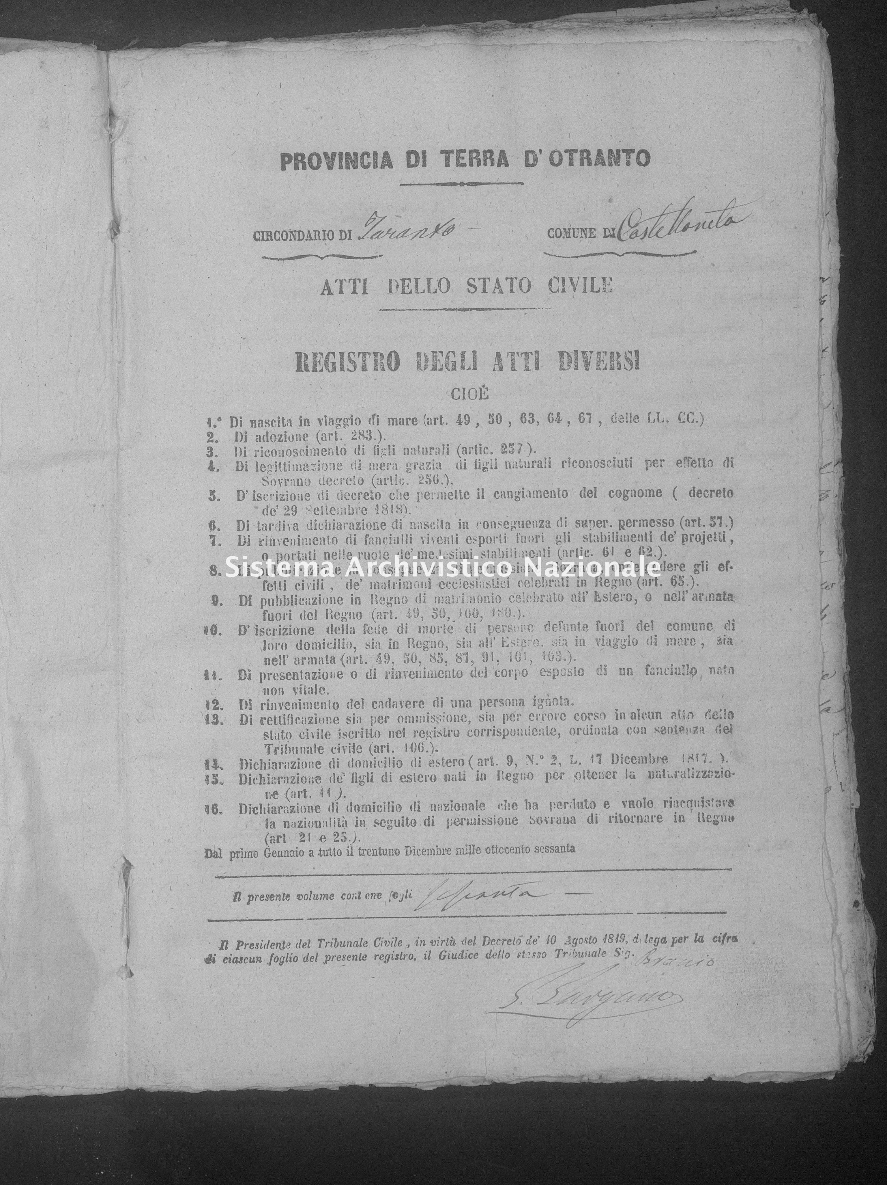 Archivio di stato di Taranto - Atti dello Stato Civile del Distretto giudiziario di Taranto - Castellaneta - Diversi - 1865 - 4 -