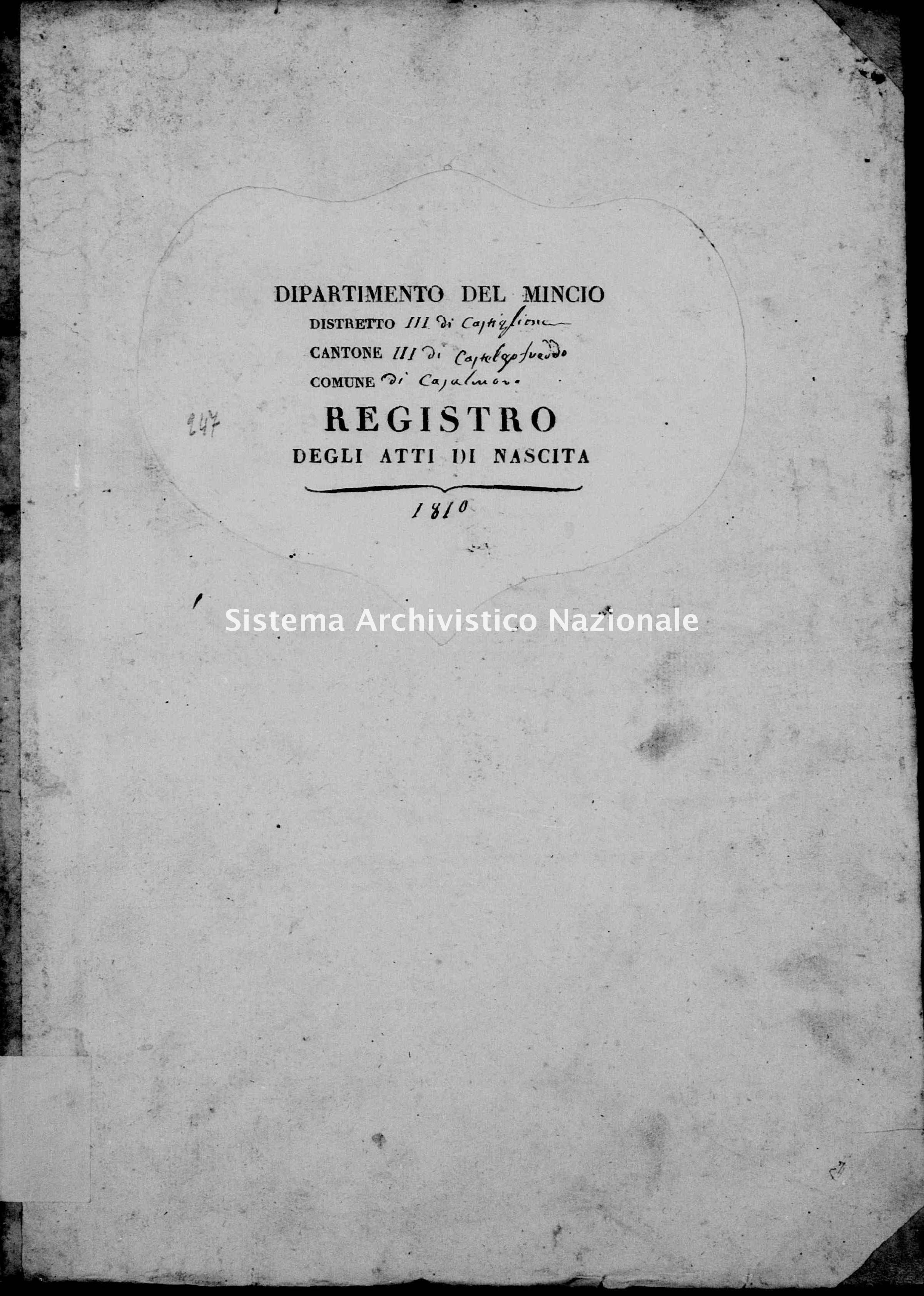 Archivio di stato di Mantova - Stato civile e anagrafe del Dipartimento del Mincio - Acquafredda-con-Casalpoglio-(frazioni-di-Casalmoro) - Nati - 1810 con indice - 247 -