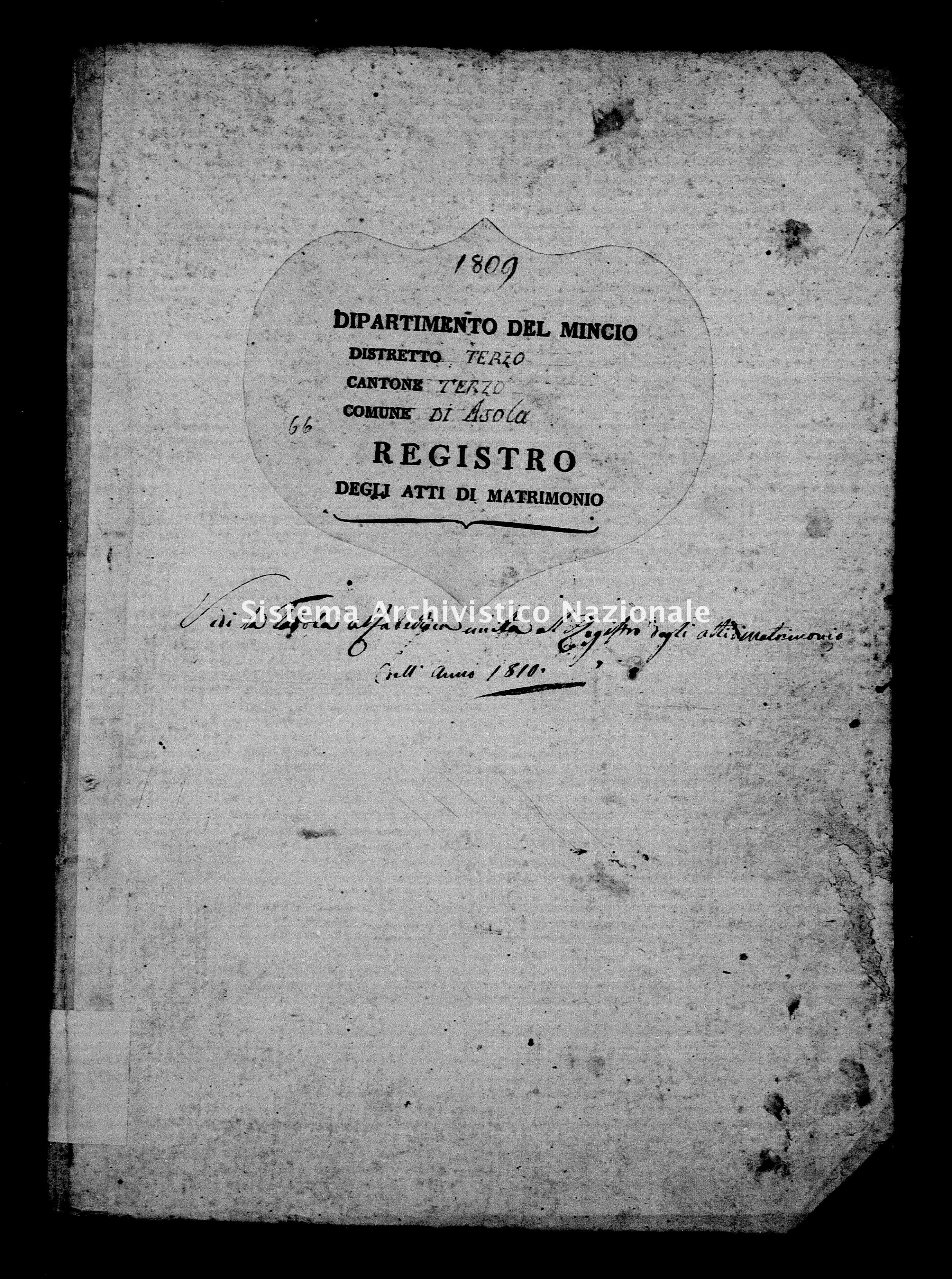 Archivio di stato di Mantova - Stato civile e anagrafe del Dipartimento del Mincio - Asola - Matrimoni - 1809 - 66 -