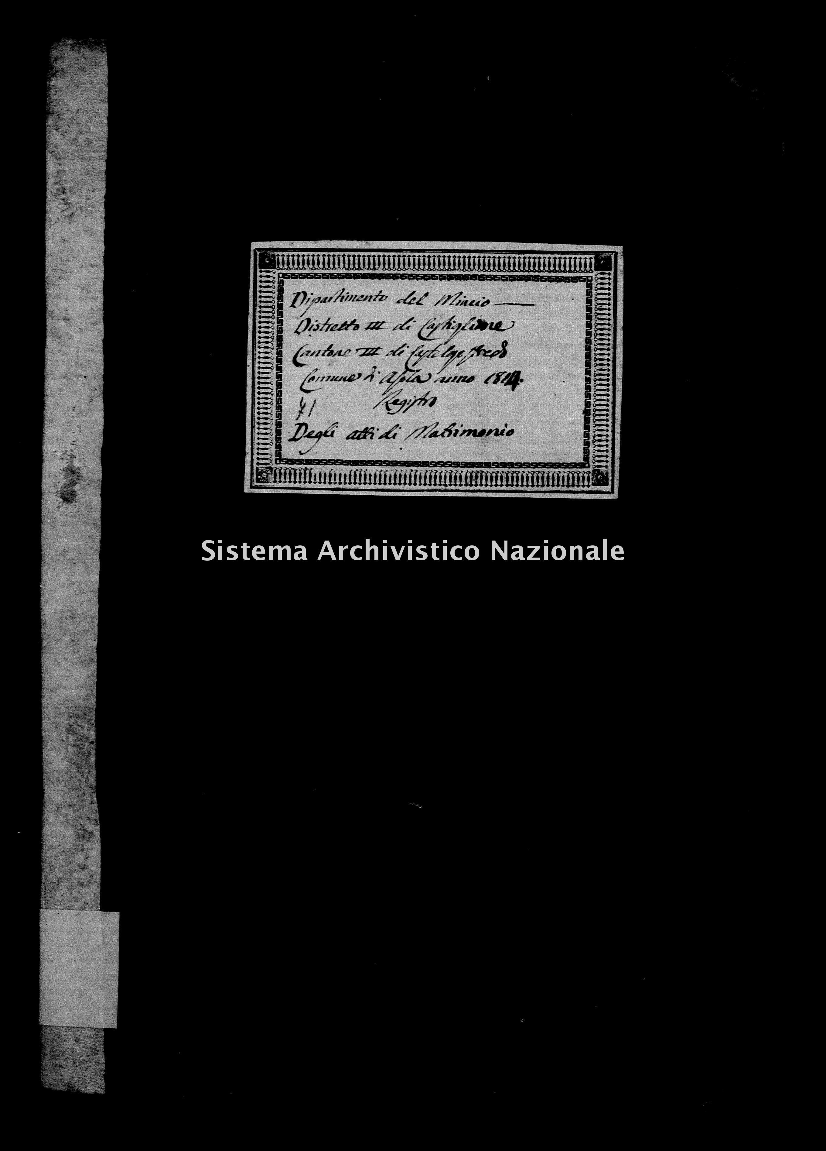 Archivio di stato di Mantova - Stato civile e anagrafe del Dipartimento del Mincio - Asola - Matrimoni - 1814 con indice - 71 -