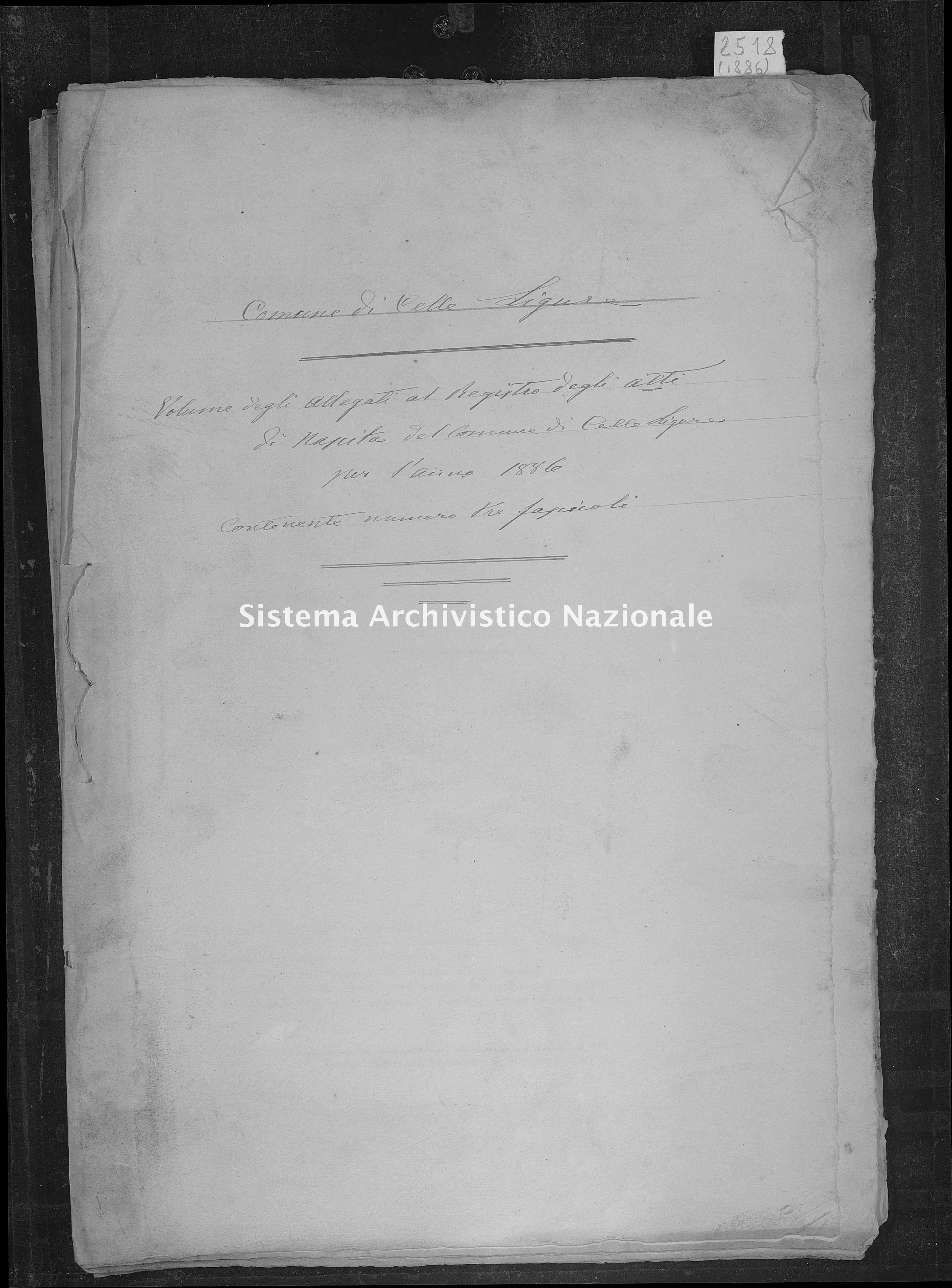 Archivio di stato di Savona - Stato civile - Savona-(Provincia) - Nati-Matrimoni-Morti, allegati - 1886 - 2518 -