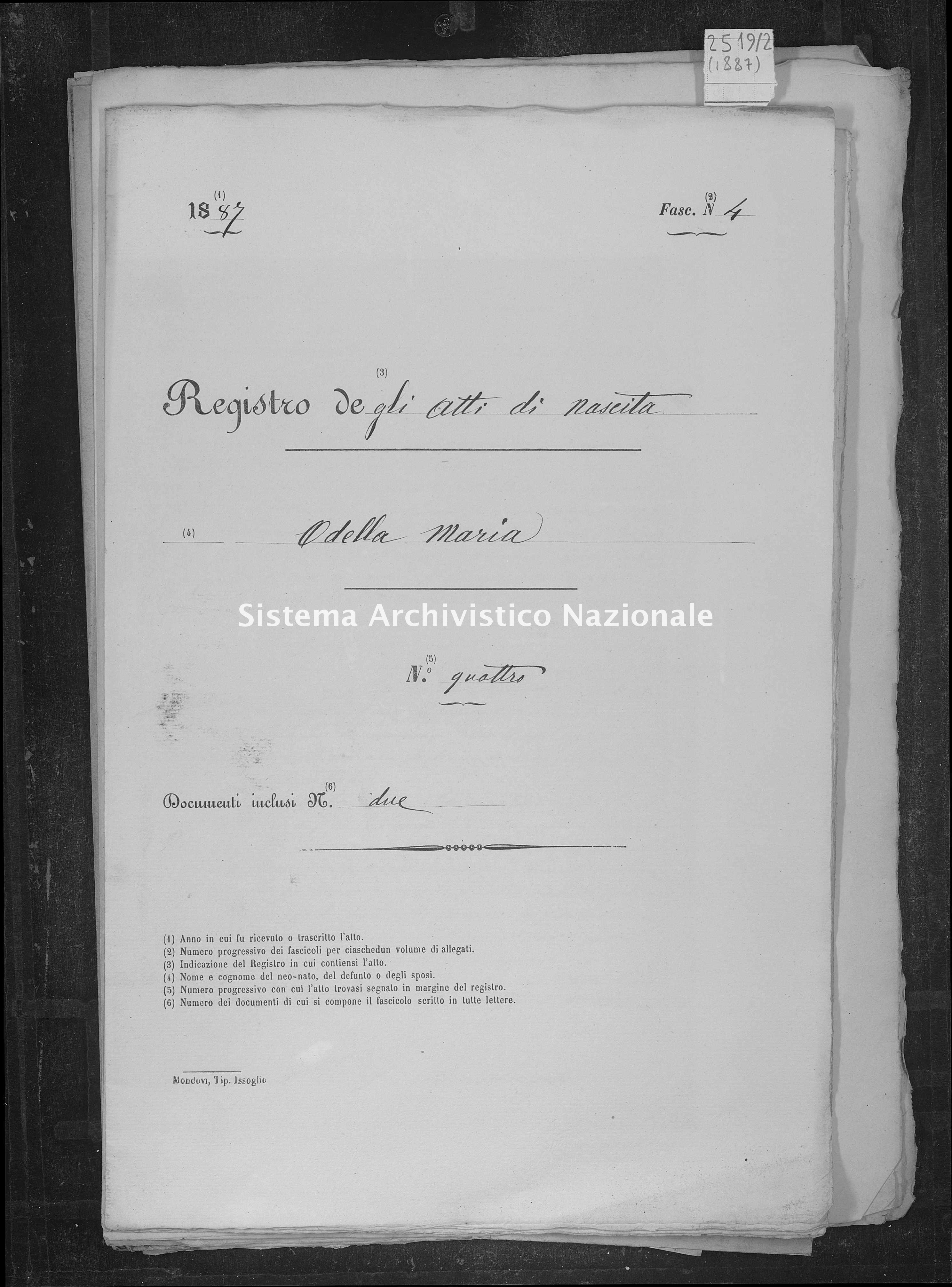 Archivio di stato di Savona - Stato civile - Savona-(Provincia) - Nati-Matrimoni-Morti, allegati - 1887 - 2519, Parte 2 -