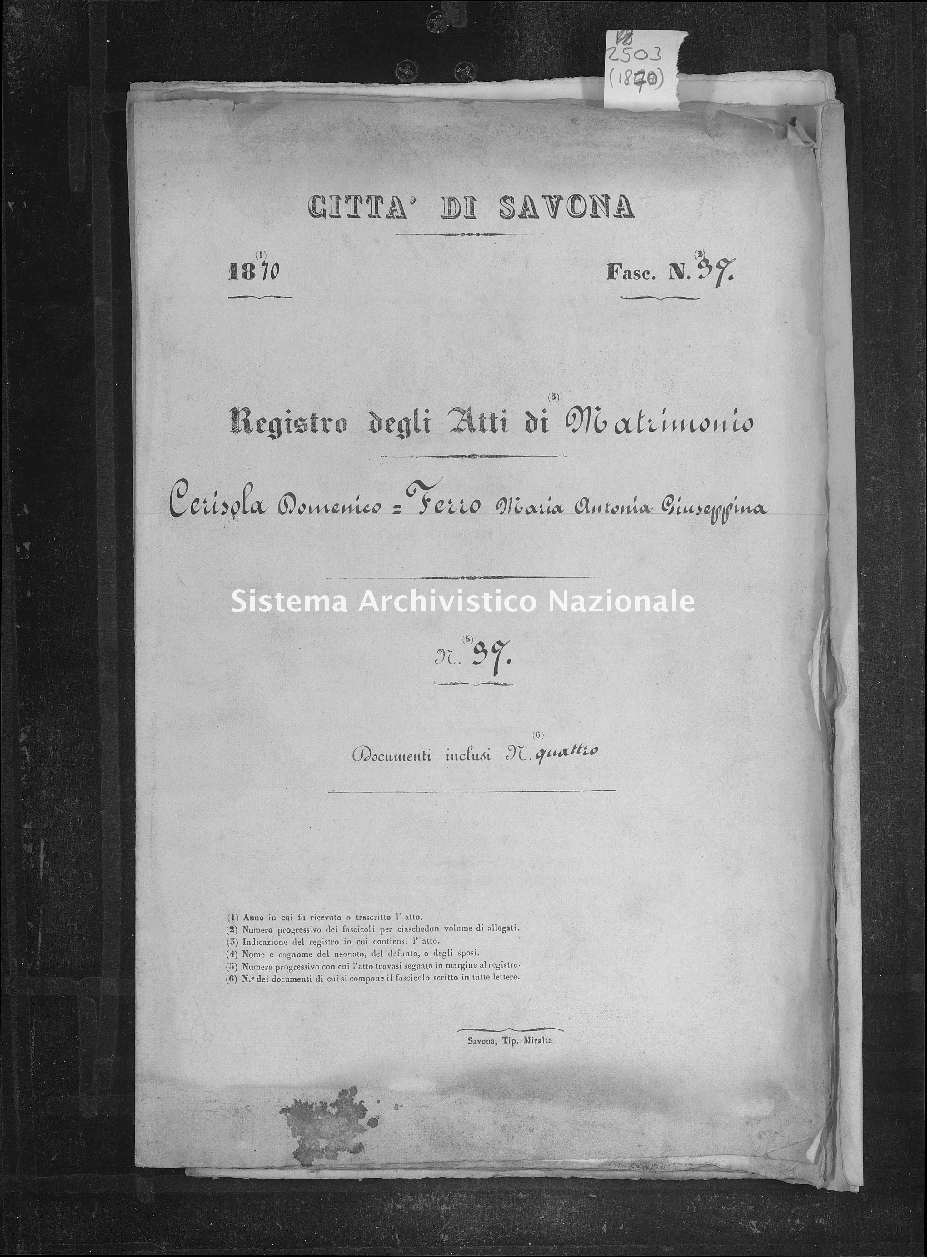Archivio di stato di Savona - Stato civile - Savona - Nati-Matrimoni-Morti, allegati - 1870 - 2503 -