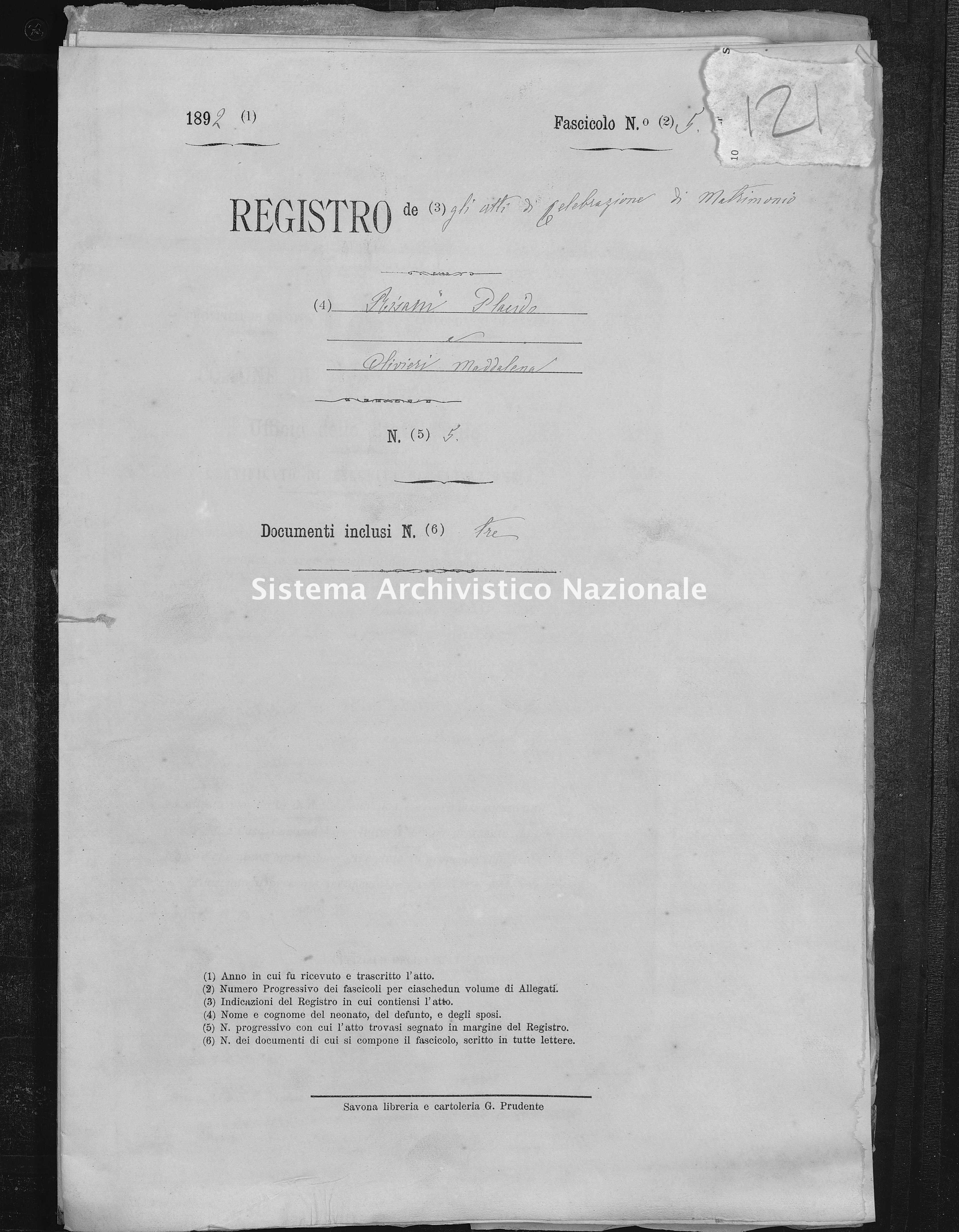 Archivio di stato di Savona - Stato civile - Santa Giulia - Matrimoni, pubblicazioni allegati - 1892 - 121 -