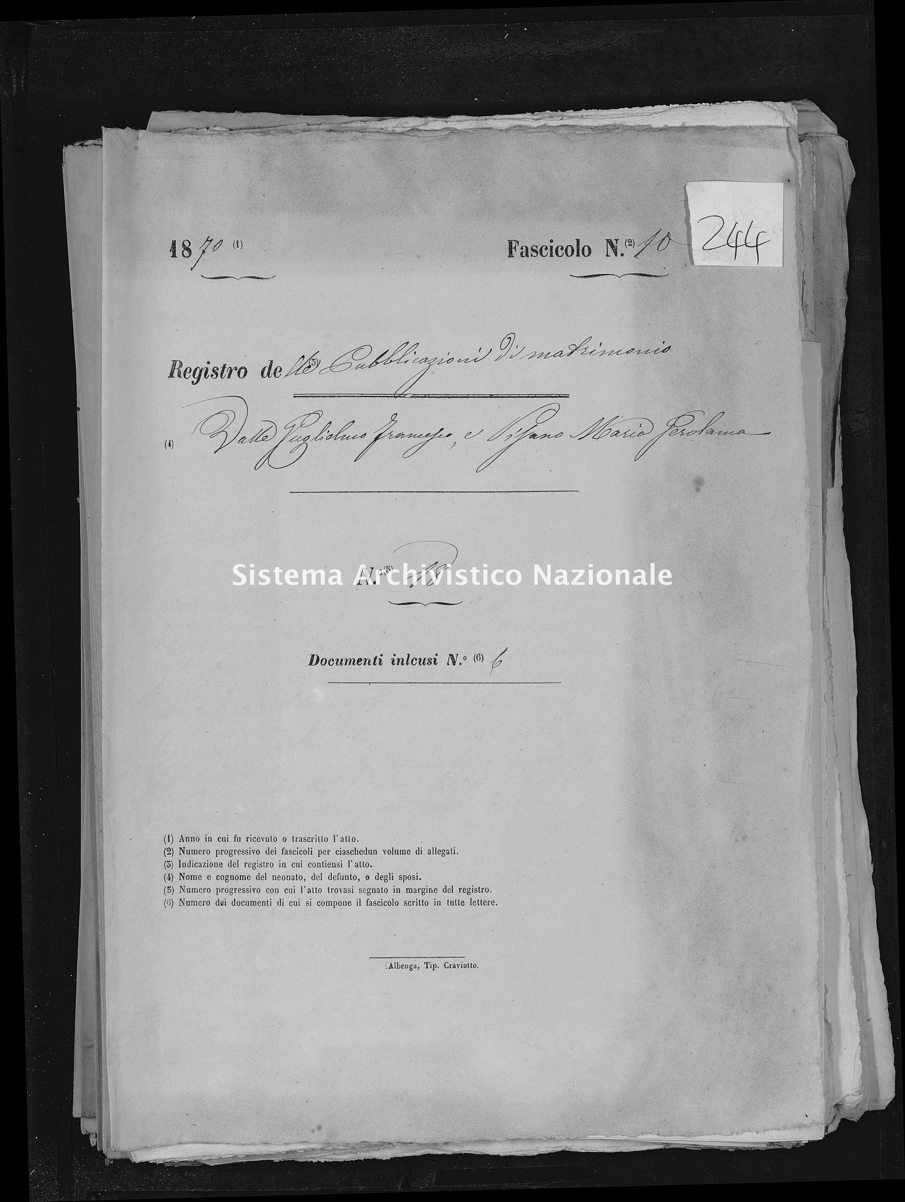 Archivio di stato di Savona - Stato civile - Savona-(Provincia) - Matrimoni, pubblicazioni allegati - 1870 - 244 -
