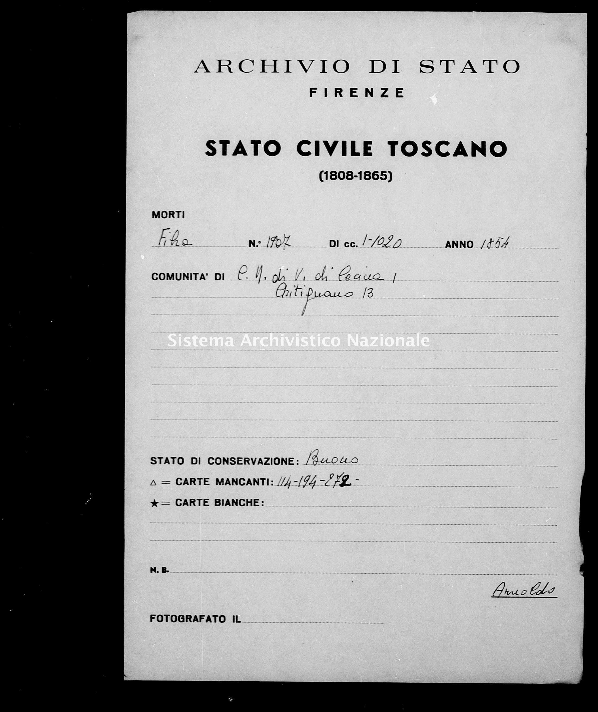 Archivio di stato di Firenze - Stato civile di Toscana (1808-1865) - Castelnuovo di Val di Cecina - Morti - 1854 - 1907 -