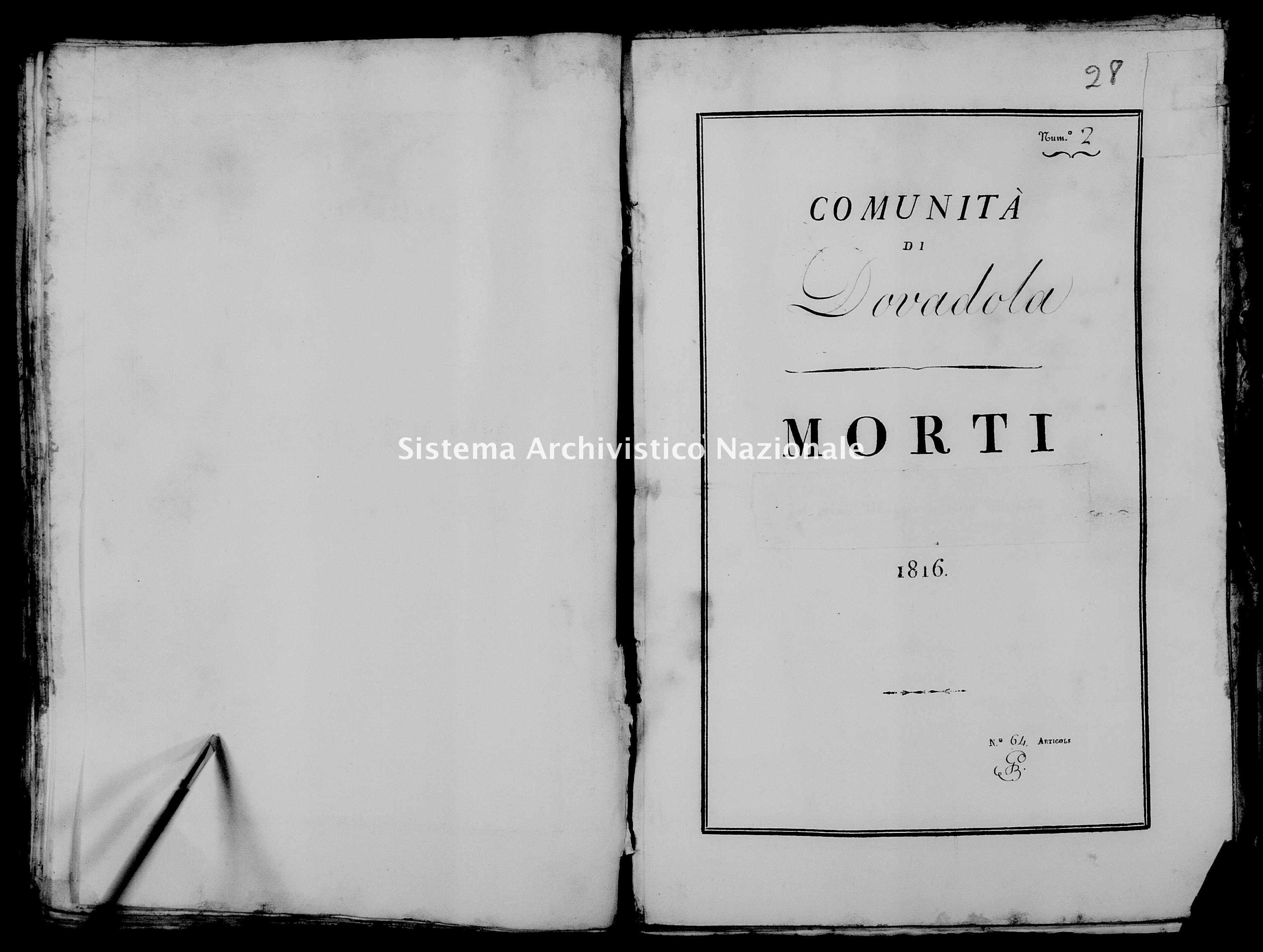 Archivio di stato di Firenze - Stato civile di Toscana (1808-1865) - Dovadola - Morti - 1816 - 28 -