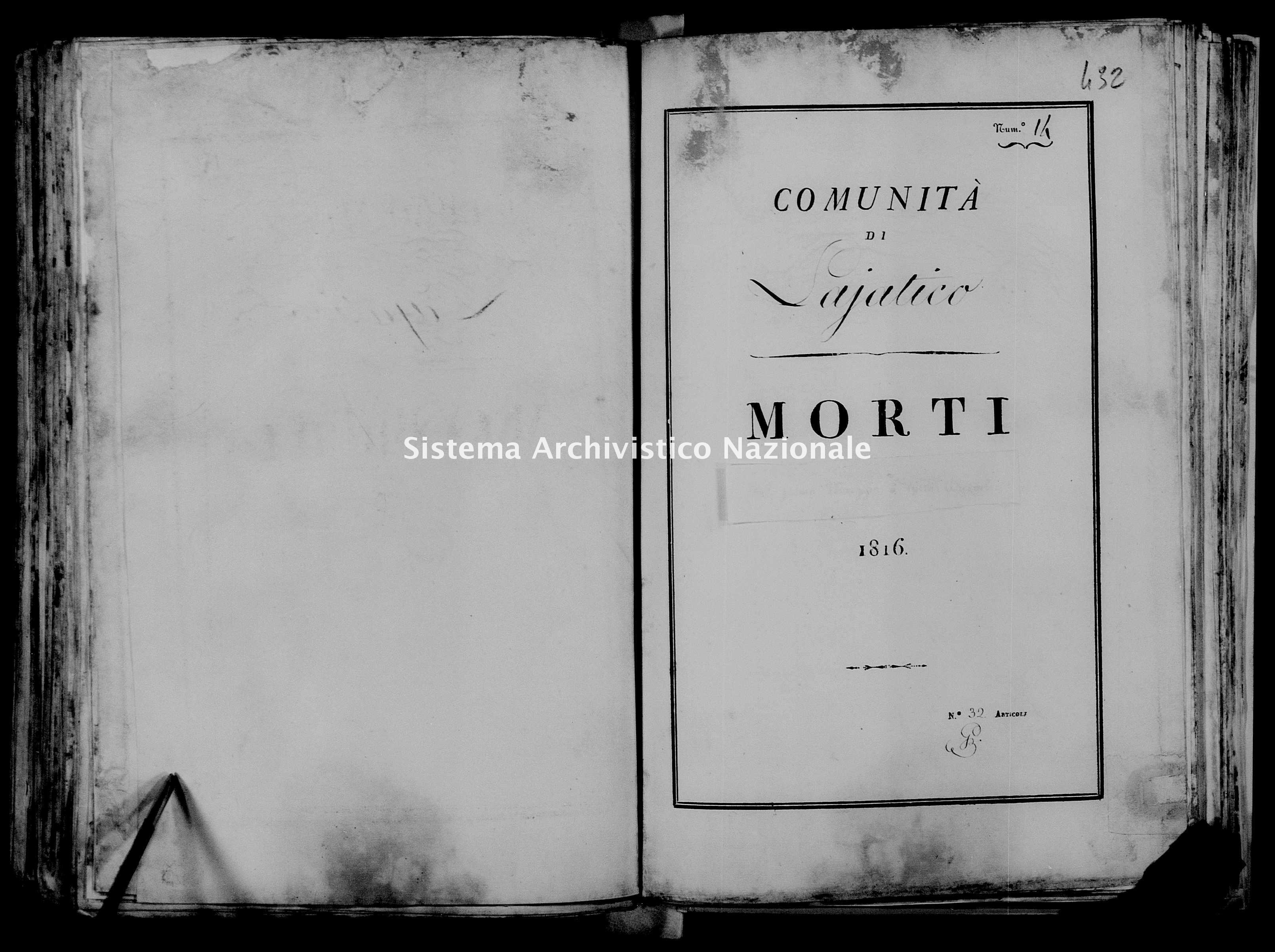 Archivio di stato di Firenze - Stato civile di Toscana (1808-1865) - Lajatico - Morti - 1816 - 37 -