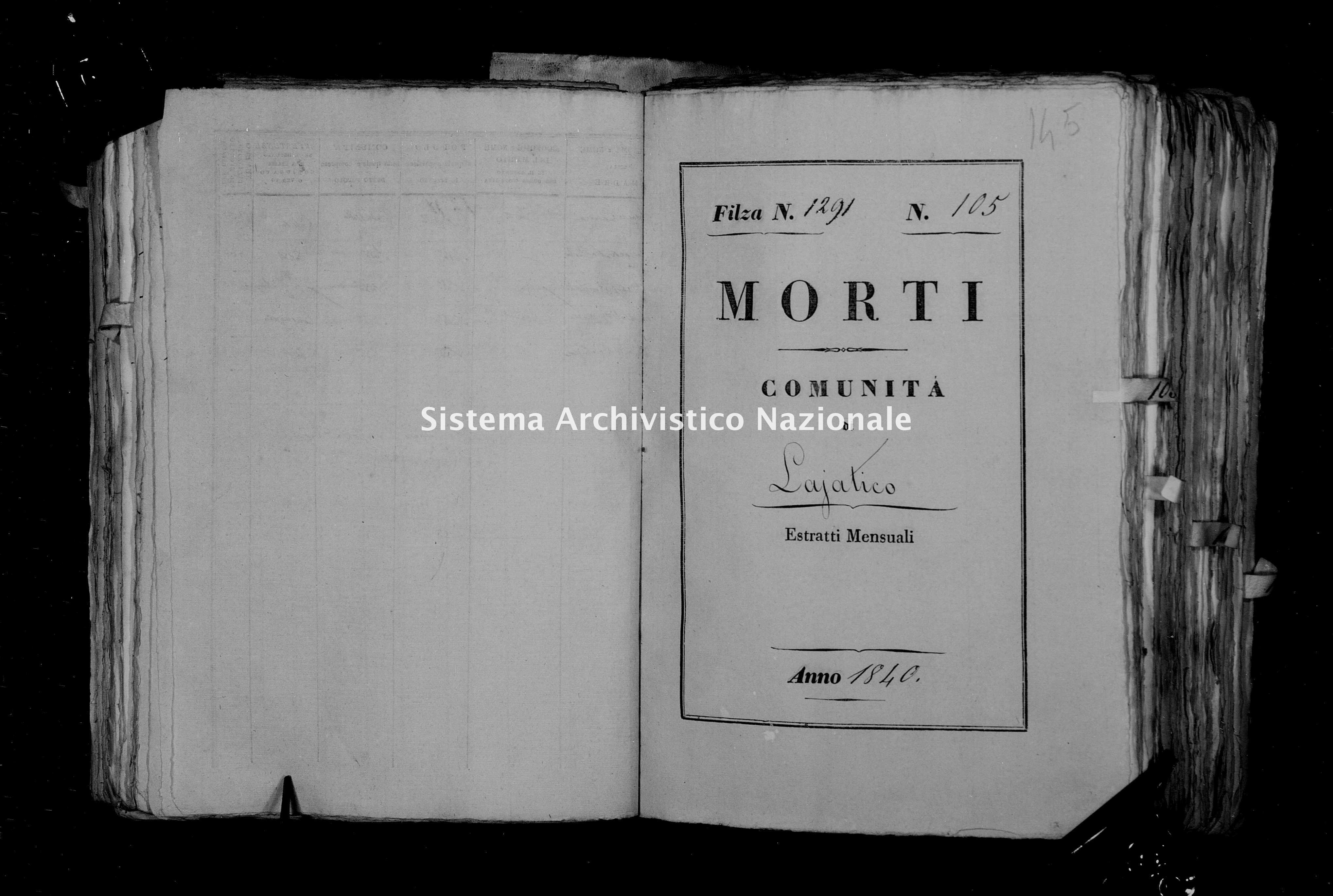 Archivio di stato di Firenze - Stato civile di Toscana (1808-1865) - Lajatico - Morti - 1840 - 1291 -