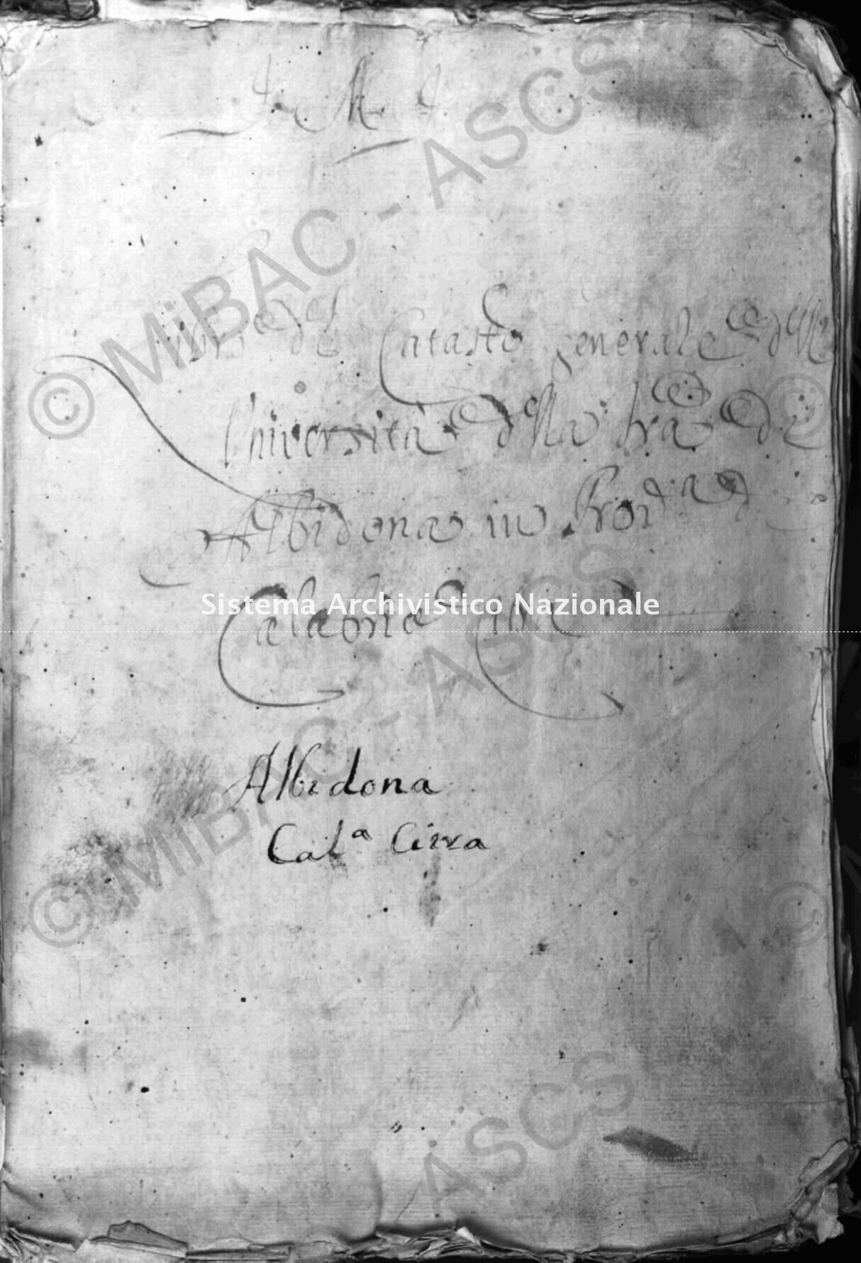 Archivio di Stato di Cosenza. Catasto Onciario Albidona
