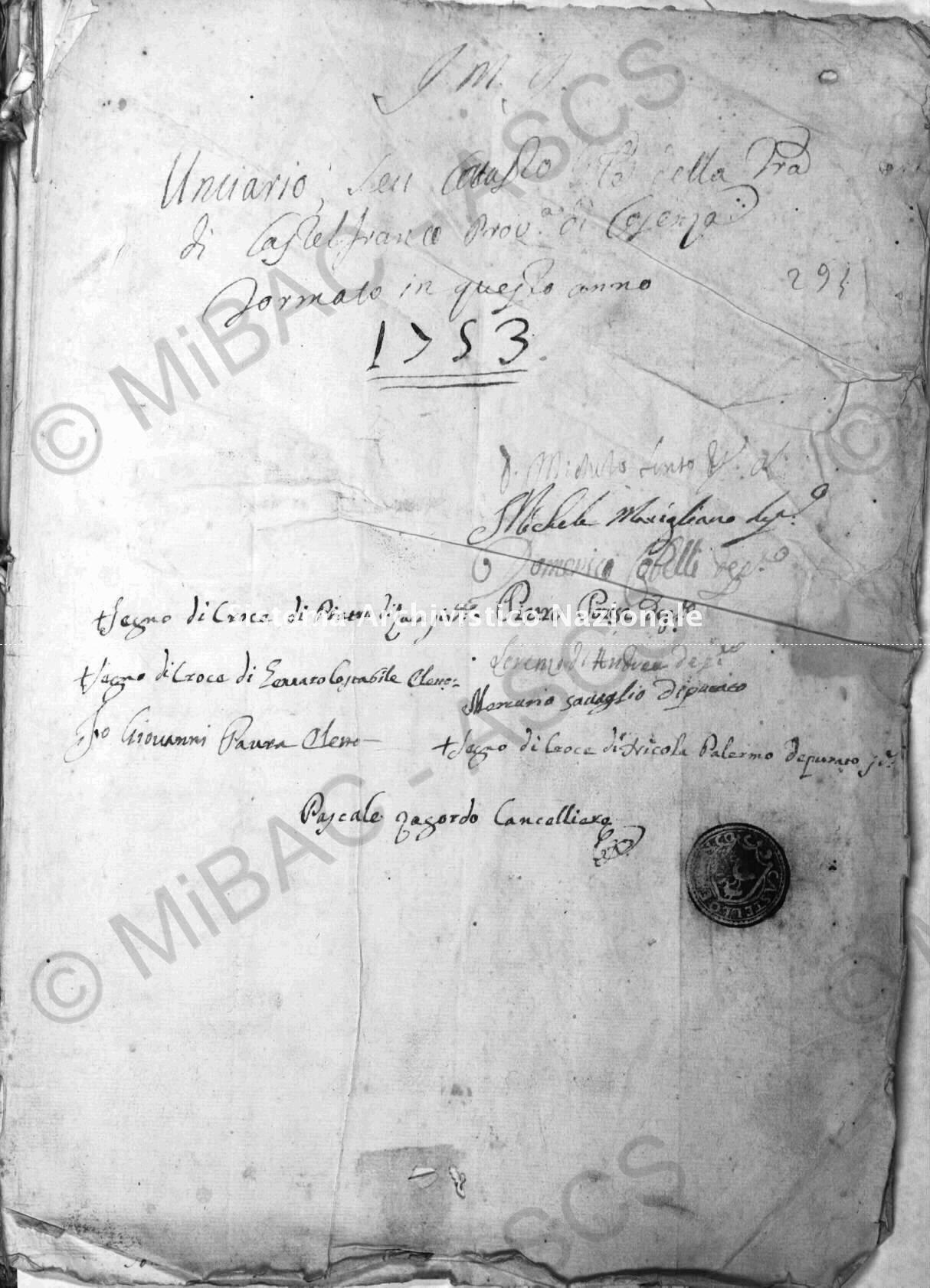 Archivio di Stato di Cosenza. Catasto Onciario Castelfranco