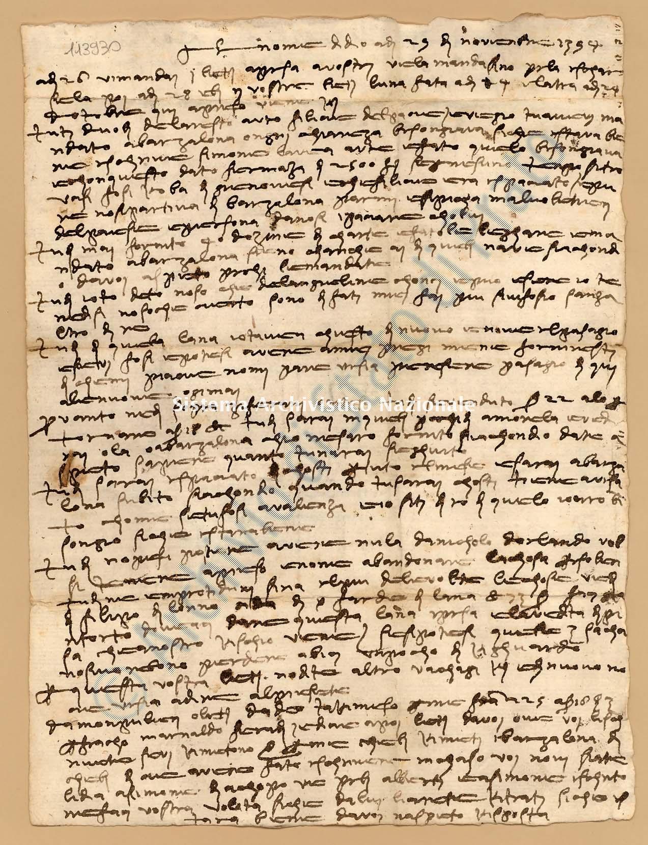 Archivio di Stato di Prato, Fondo Datini, Fondaco di Barcellona, Carteggio diretto al fondaco da Firenze, 857.1 Lettere Di Boni Ambrogio Di Meo a Datini Francesco Di Marco e Luca Del Sera e Comp. (busta 857, inserto 1, codice 113930)