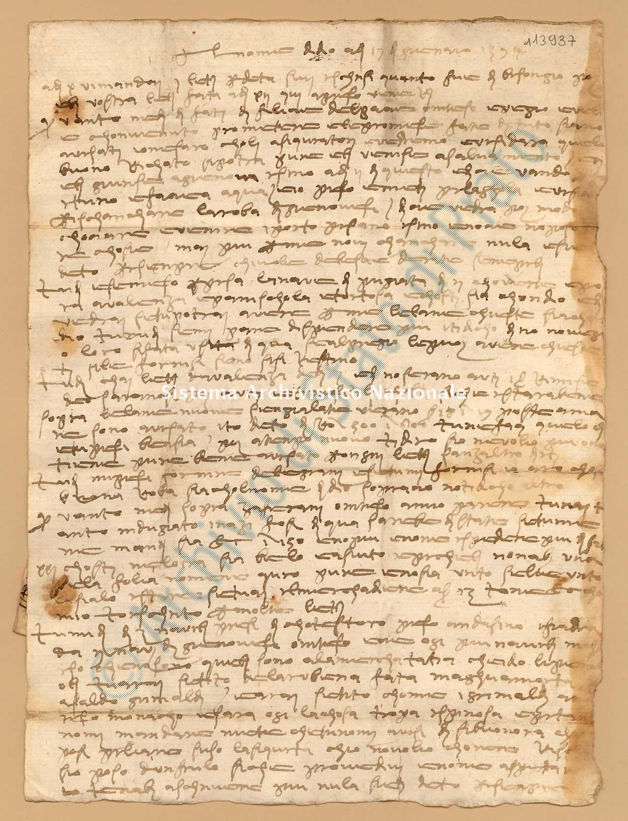 Archivio di Stato di Prato, Fondo Datini, Fondaco di Barcellona, Carteggio diretto al fondaco da Firenze, 857.1 Lettere Di Boni Ambrogio Di Meo a Datini Francesco Di Marco e Luca Del Sera e Comp. (busta 857, inserto 1, codice 113937)