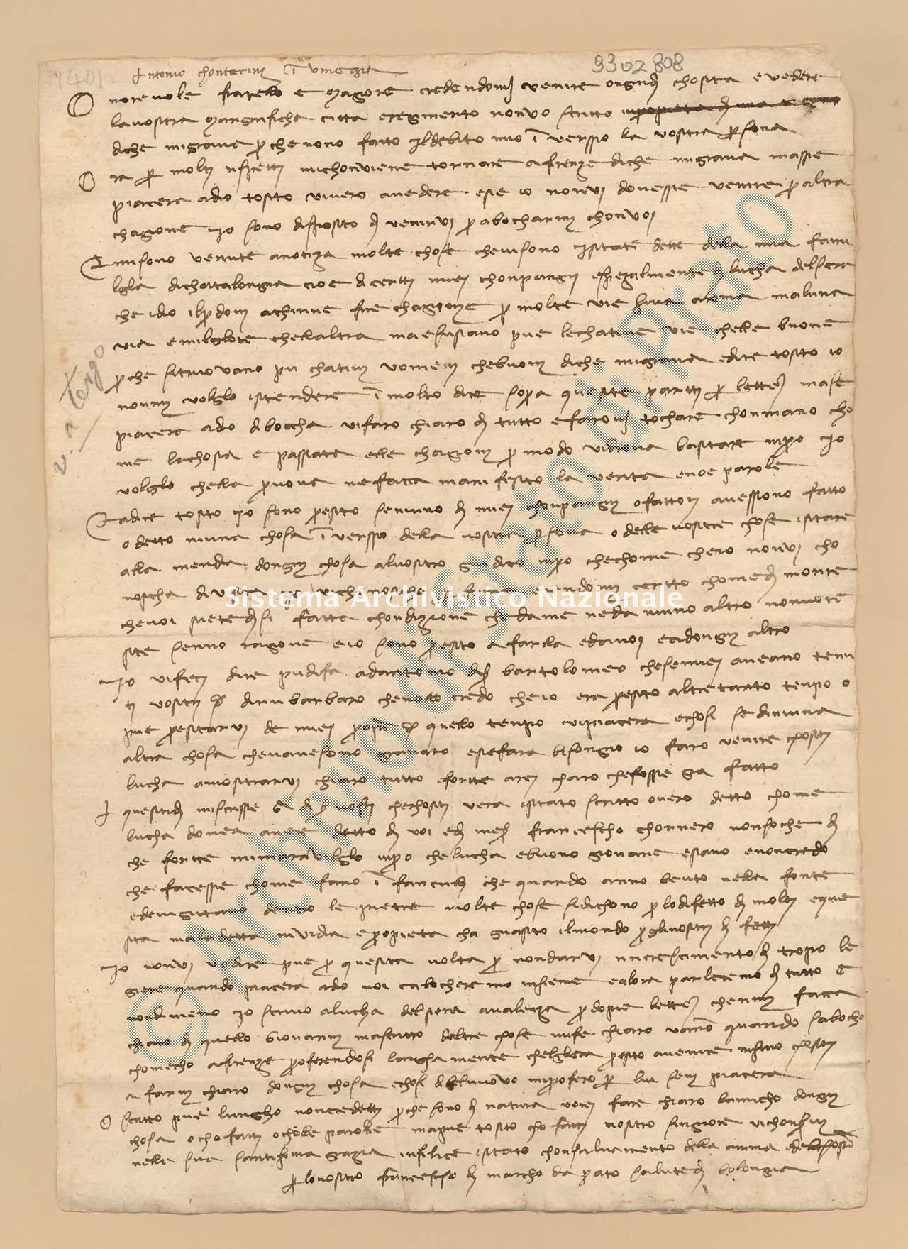 Archivio di Stato di Prato, Fondo Datini, Lettere di Francesco Datini a vari, 1088.01.2 Lettere Di Datini Francesco Di Marco a Contarini Antonio Di Messer Marino Di San Pantaleone (o San Felisse) (busta 1088.01, inserto 2, codice 9302808)