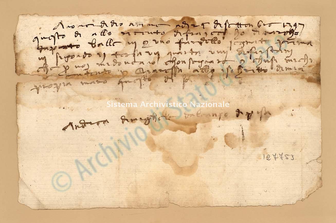 Archivio di Stato di Prato, Fondo Datini, Appendice al carteggio, 1116.65 Lettere Di Andrea Di Michele a Marchesino Di Boccaccio (busta 1116, inserto 65, codice 127753)