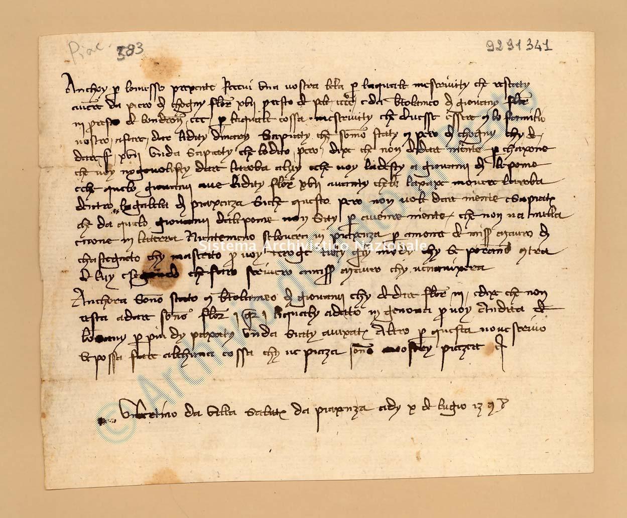 Archivio di Stato di Prato, Fondo Datini, Appendice al carteggio, 1116.73 Lettere Di Uberto (o Ubertino) Da Villa a Agli Manno Di Albizo (busta 1116, inserto 73, codice 9291341)