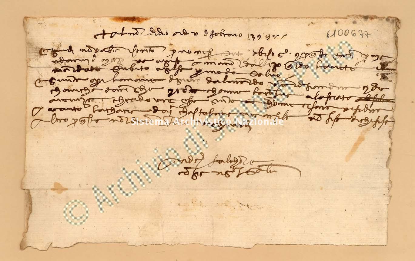 Archivio di Stato di Prato, Fondo Datini, Appendice al carteggio, 1116.99 Lettere Di Falconi Andrea Di Filippo e Comp. a Niccolò Di Giovanni (busta 1116, inserto 99, codice 6100677)