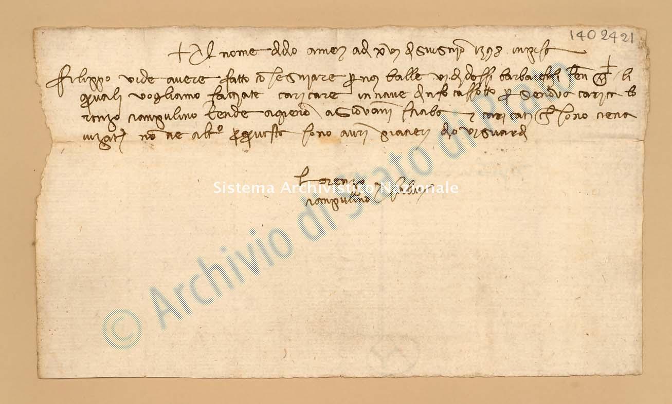 Archivio di Stato di Prato, Fondo Datini, Appendice al carteggio, 1116.101 Lettere Di Ciampolini Lorenzo a Tedaldi Cristofano Di Agnolo e Comp. (busta 1116, inserto 101, codice 1402421)