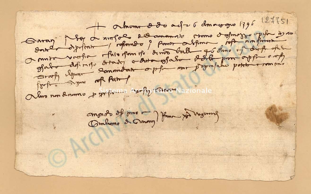 Archivio di Stato di Prato, Fondo Datini, Appendice al carteggio, 1116.110 Lettere Di Agnolo Di Ser Pino Di Vieri e Giuliano Di Giovanni e Comp. a Piccolino Niccolò Di Giovanni, Oste (busta 1116, inserto 110, codice 127751)