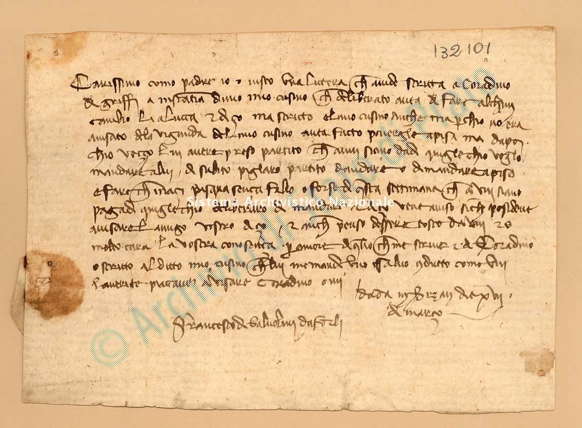 Archivio di Stato di Prato, Fondo Datini, Appendice al carteggio, 1116.116 Lettere Di Salvolini Francesco Da ForlÌ a Trenta Lorenzo (busta 1116, inserto 116, codice 132101)
