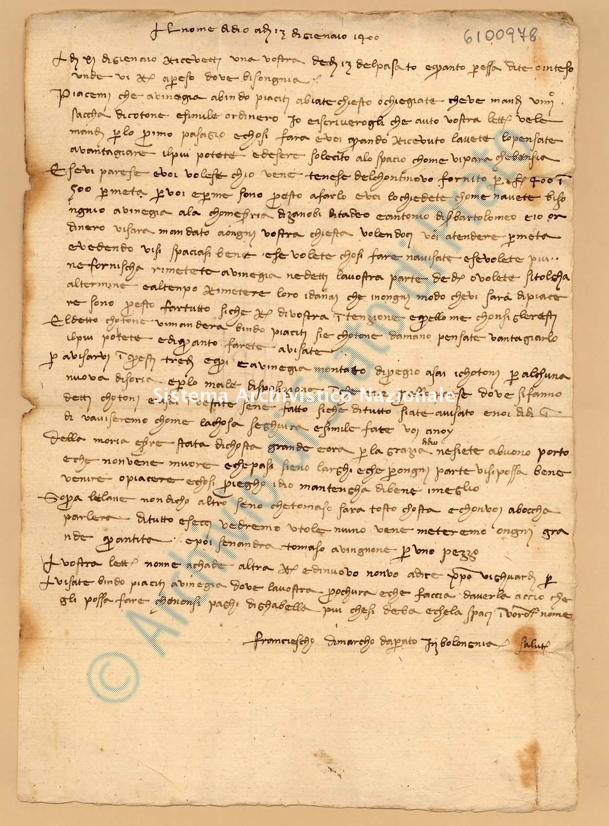 Archivio di Stato di Prato, Fondo Datini, Appendice al carteggio, 1116.125 Lettere Di Datini Francesco Di Marco a Giovanni Da Pessano (busta 1116, inserto 125, codice 6100978)