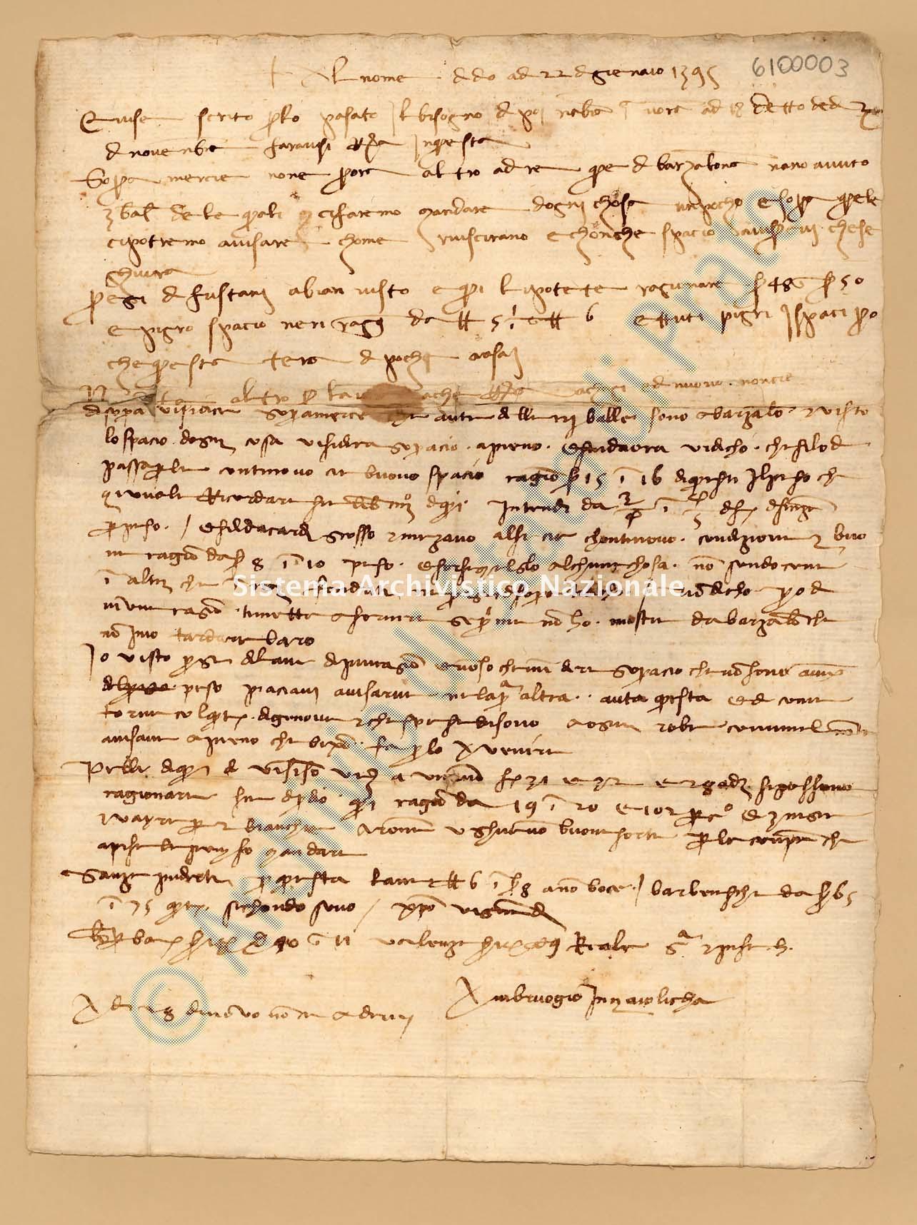 Archivio di Stato di Prato, Fondo Datini, Appendice al carteggio, 1116.135 Lettere Di Rocchi Ambrogio Di Messer Lorenzo Di Siena (anche Lorenzi) a Tommaso Di Ser Giovanni Da Vico D'elsa (busta 1116, inserto 135, codice 6100003)