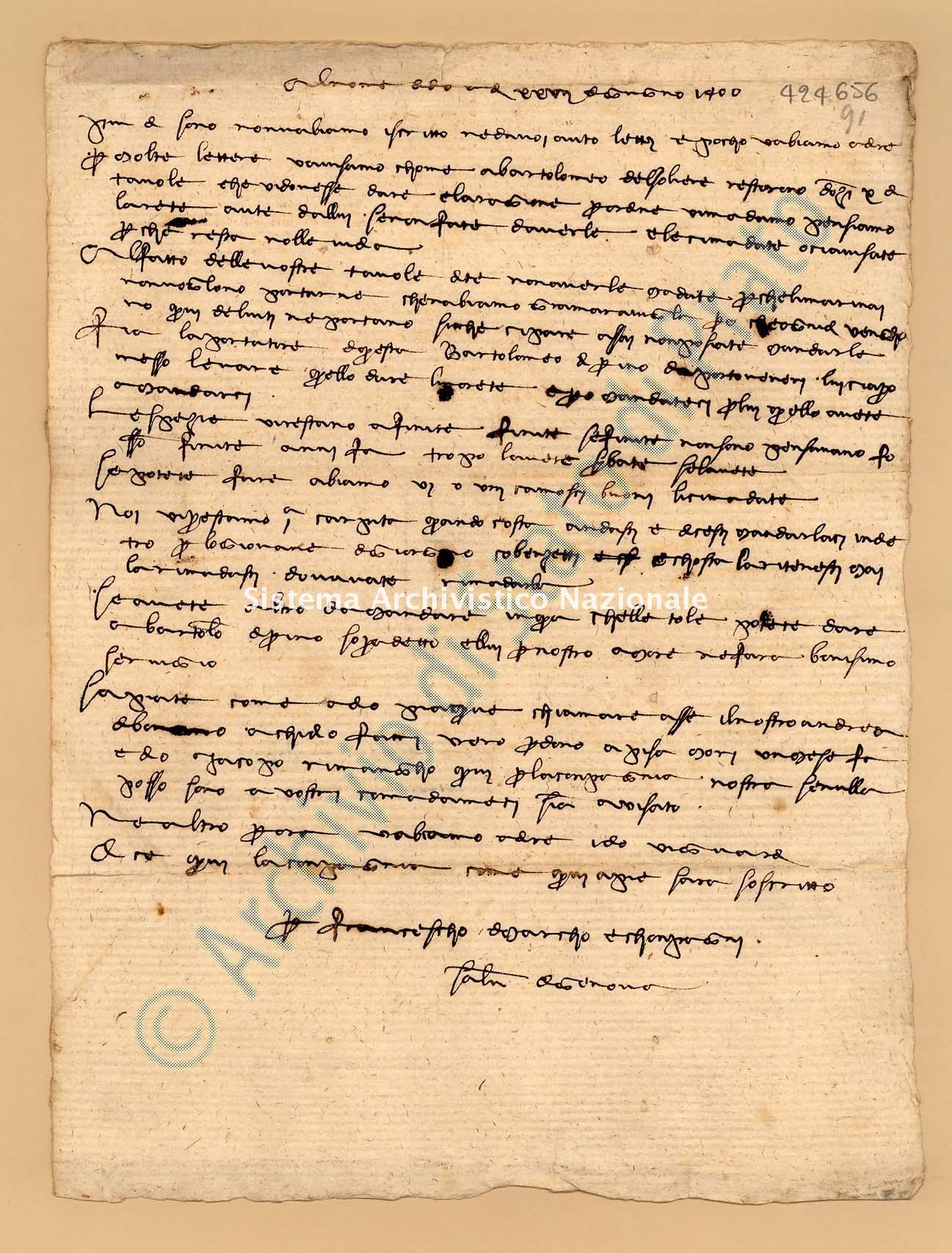 Archivio di Stato di Prato, Fondo Datini, Appendice al carteggio, 1116.171 Lettere Di Datini Francesco Di Marco e Comp. a Dalla Costa Siacro (busta 1116, inserto 171, codice 424656)