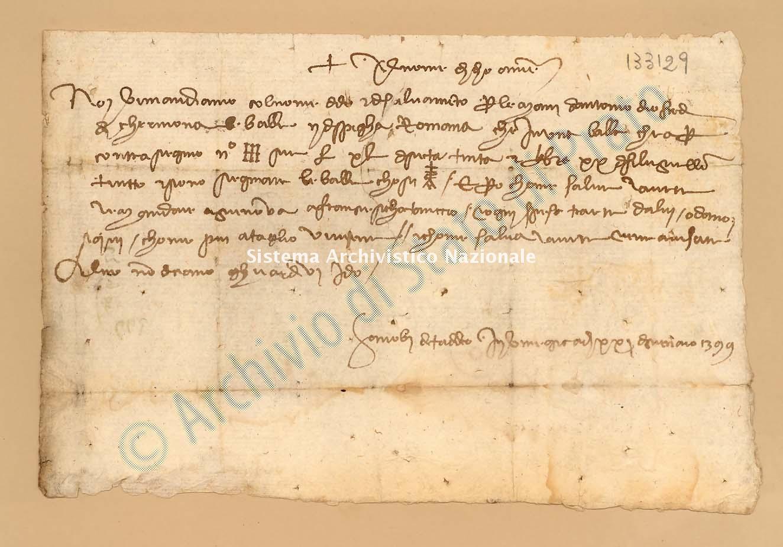 Archivio di Stato di Prato, Fondo Datini, Appendice al carteggio, 1116.208 Lettere Di Gaddi Zanobi Di Taddeo a Giovanni Di Poggio Da Lucca (busta 1116, inserto 208, codice 133129)