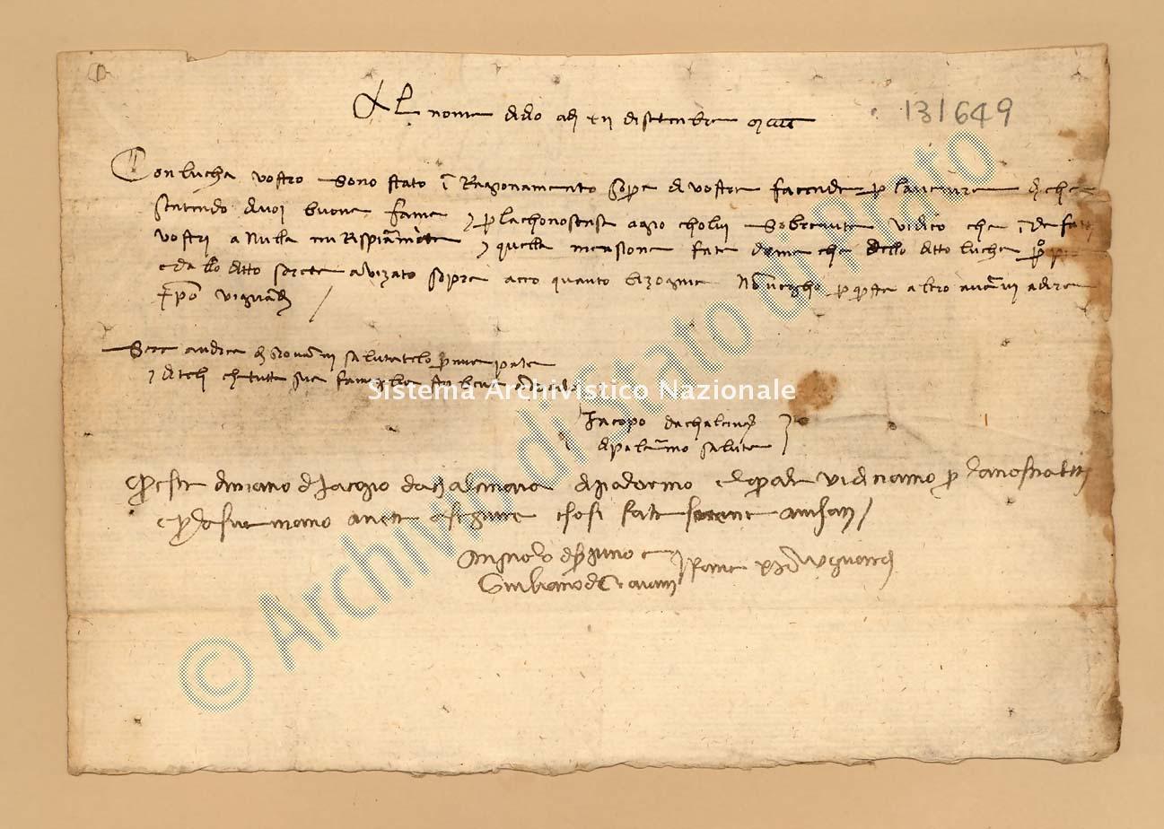 Archivio di Stato di Prato, Fondo Datini, Appendice al carteggio, 1116.238 Lettere Di Iacopo Da Calcinaia a Agnolo Di Ser Pino Di Vieri e Giuliano Di Giovanni e Comp. (busta 1116, inserto 238, codice 131649)