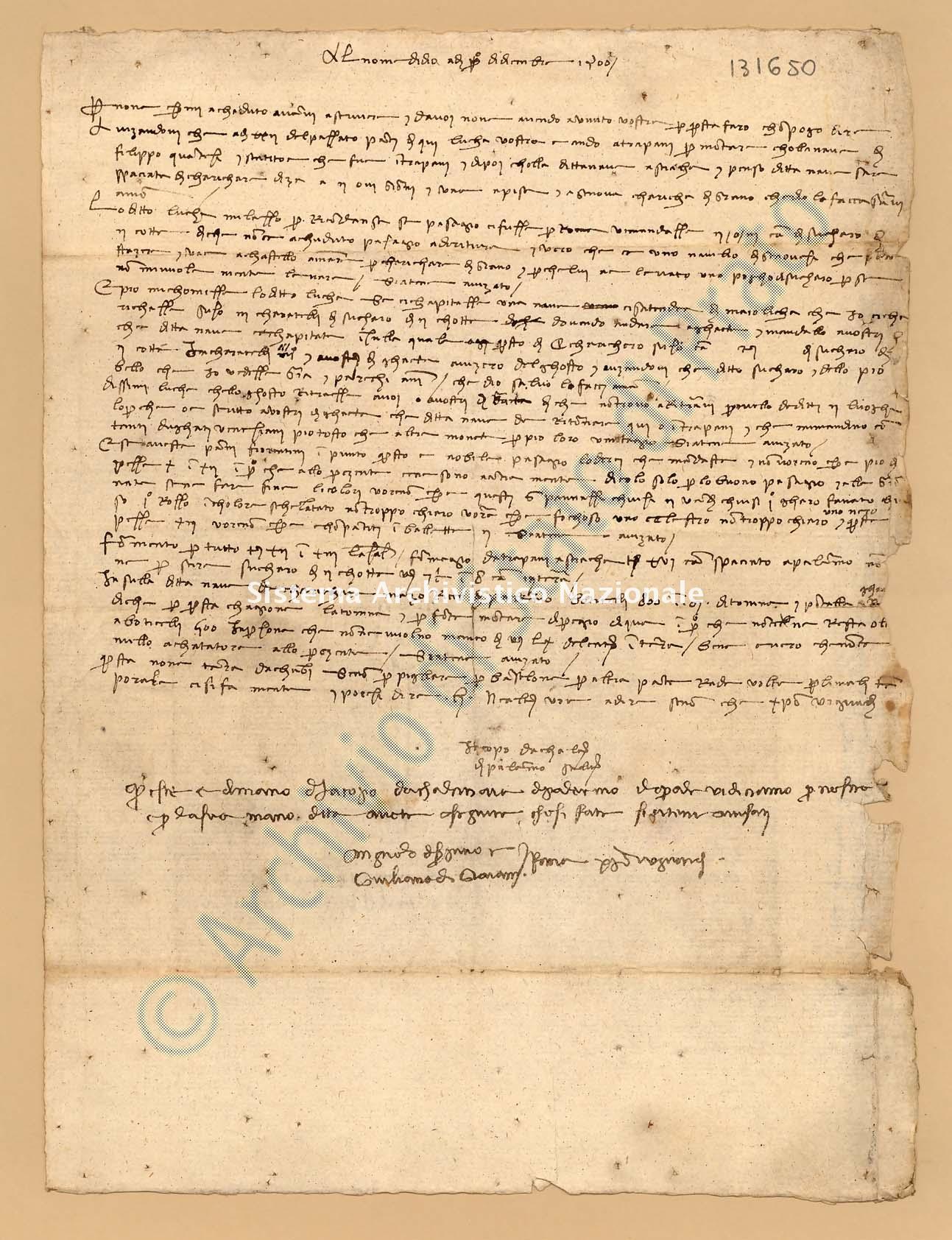 Archivio di Stato di Prato, Fondo Datini, Appendice al carteggio, 1116.238 Lettere Di Iacopo Da Calcinaia a Agnolo Di Ser Pino Di Vieri e Giuliano Di Giovanni e Comp. (busta 1116, inserto 238, codice 131650)