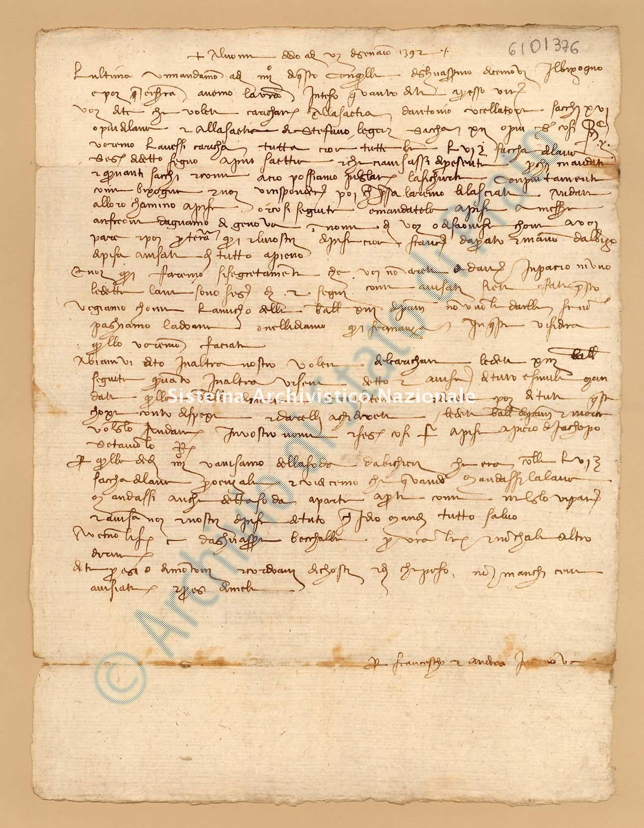 Archivio di Stato di Prato, Fondo Datini, Appendice al carteggio, 1116.254 Lettere Di Datini Francesco Di Marco e Andrea Di Bonanno Di Ser Berizo e Comp. a Bartolomeo Di Barone Da Savona (busta 1116, inserto 254, codice 6101376)