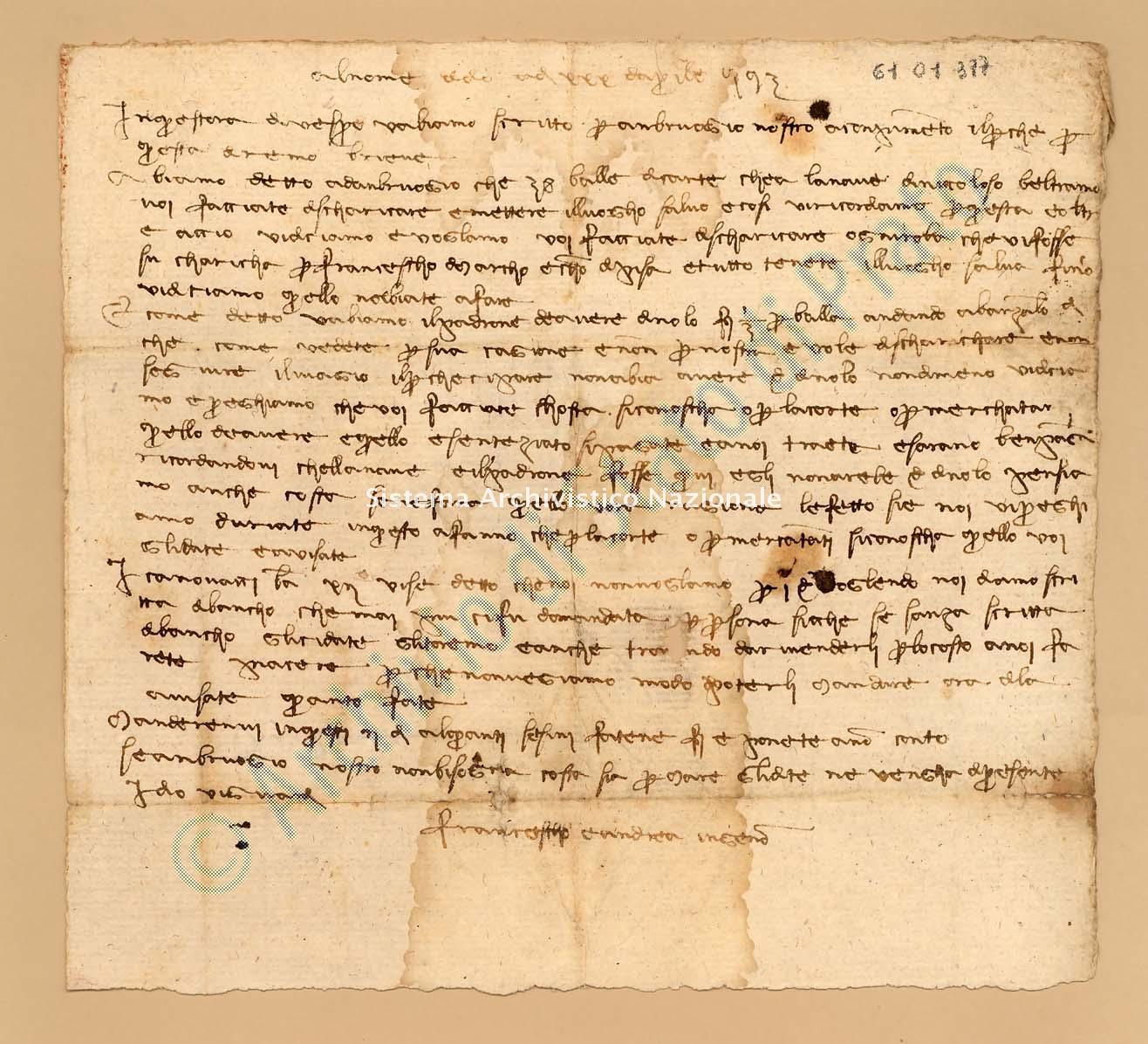 Archivio di Stato di Prato, Fondo Datini, Appendice al carteggio, 1116.254 Lettere Di Datini Francesco Di Marco e Andrea Di Bonanno Di Ser Berizo e Comp. a Bartolomeo Di Barone Da Savona (busta 1116, inserto 254, codice 6101377)