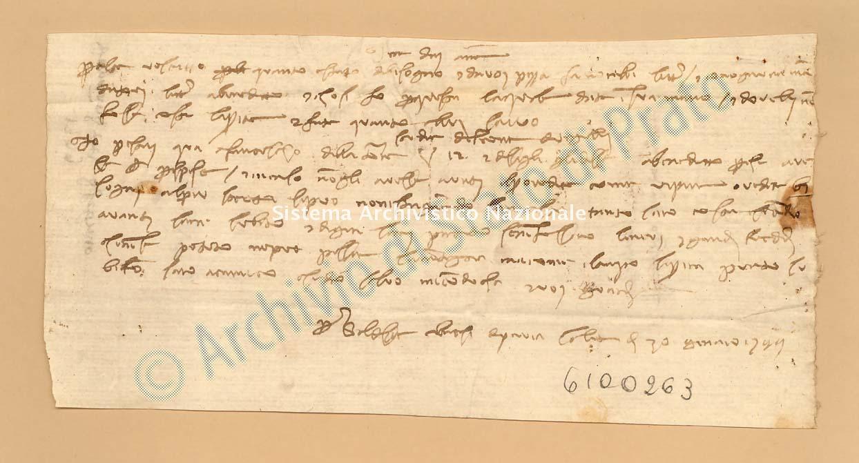 Archivio di Stato di Prato, Fondo Datini, Carteggio privato, Carteggi diversi, Lettere a Bellandi Simone Di Andrea, 1111.85 Lettere Di Ubriachi Baldassare a Bellandi Simone Di Andrea (busta 1111, inserto 85, codice 6100263)