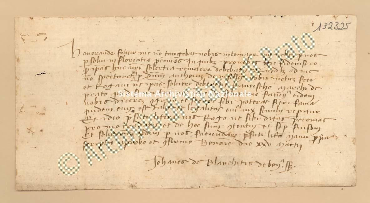 Archivio di Stato di Prato, Fondo Datini, Carteggio privato, Carteggi diversi, Lettere Di Vari a Vari, 1114.02.136 Lettere Di Bianchiti Giovanni (zoane), Ser a Leonardo Di Geri (busta 1114.02, inserto 136, codice 132325)