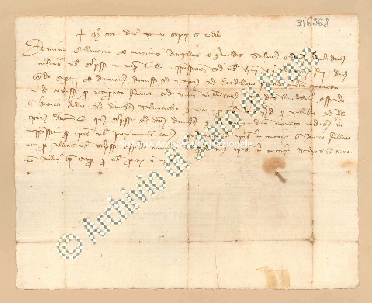 Archivio di Stato di Prato, Fondo Datini, Carteggio privato, Carteggi diversi, Lettere Di Vari a Vari, 1114.02.153 Lettere Di Grimaldi Angelo a Marini Oliviero (busta 1114.02, inserto 153, codice 316568)