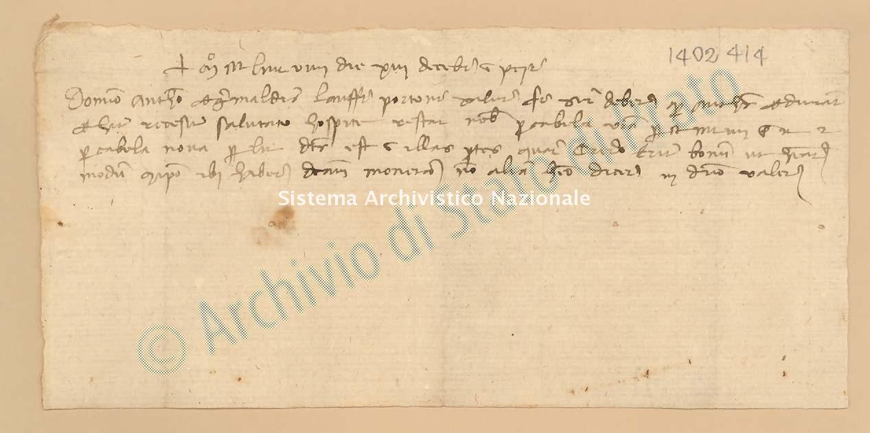 Archivio di Stato di Prato, Fondo Datini, Carteggio privato, Carteggi diversi, Lettere Di Vari a Vari, 1114.02.126 Lettere Di Lanfranco Di Portone a Grimaldi Antonio (busta 1114.02, inserto 126, codice 1402414)